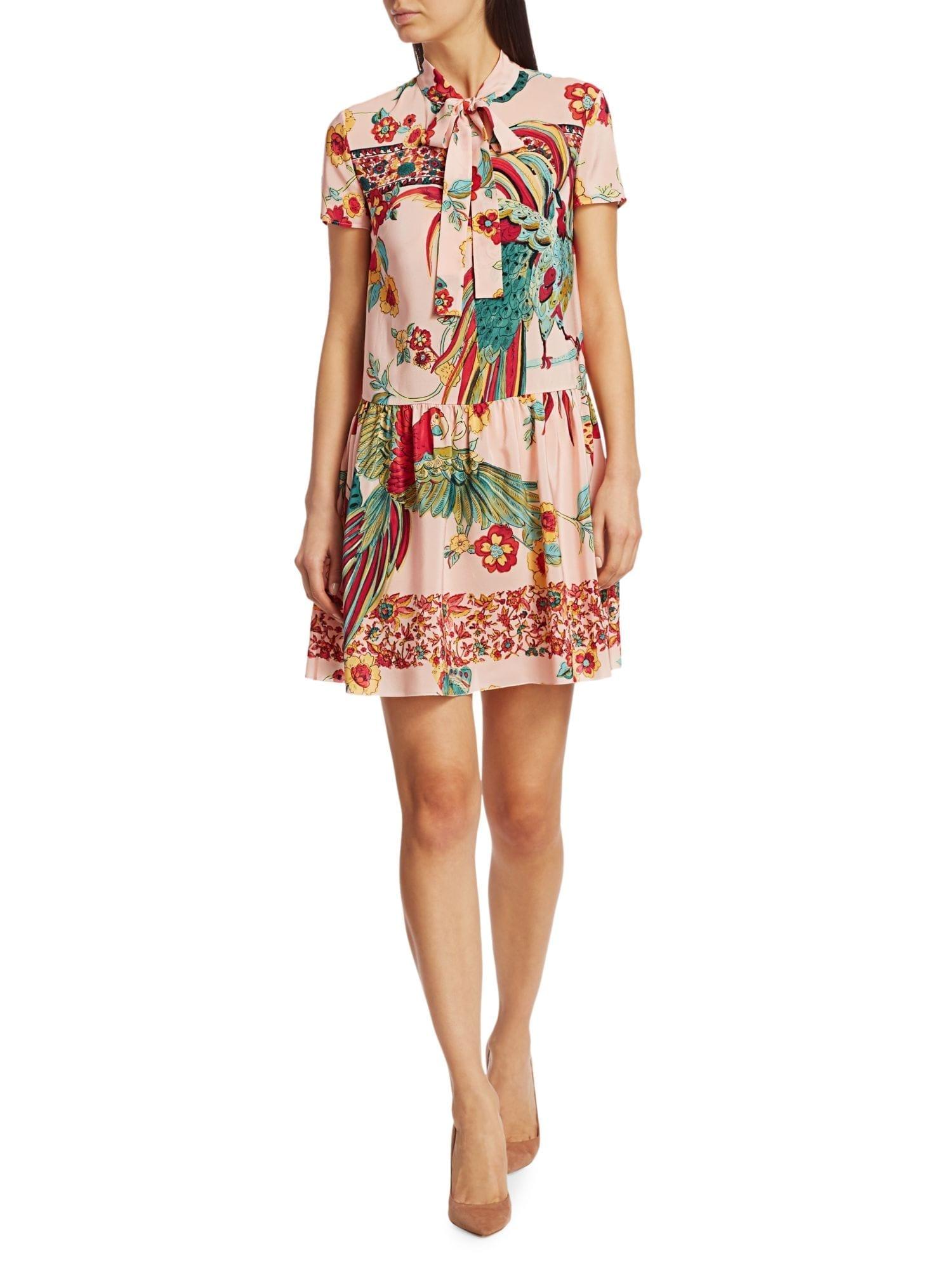 REDVALENTINO Bird-Printed Silk Dress