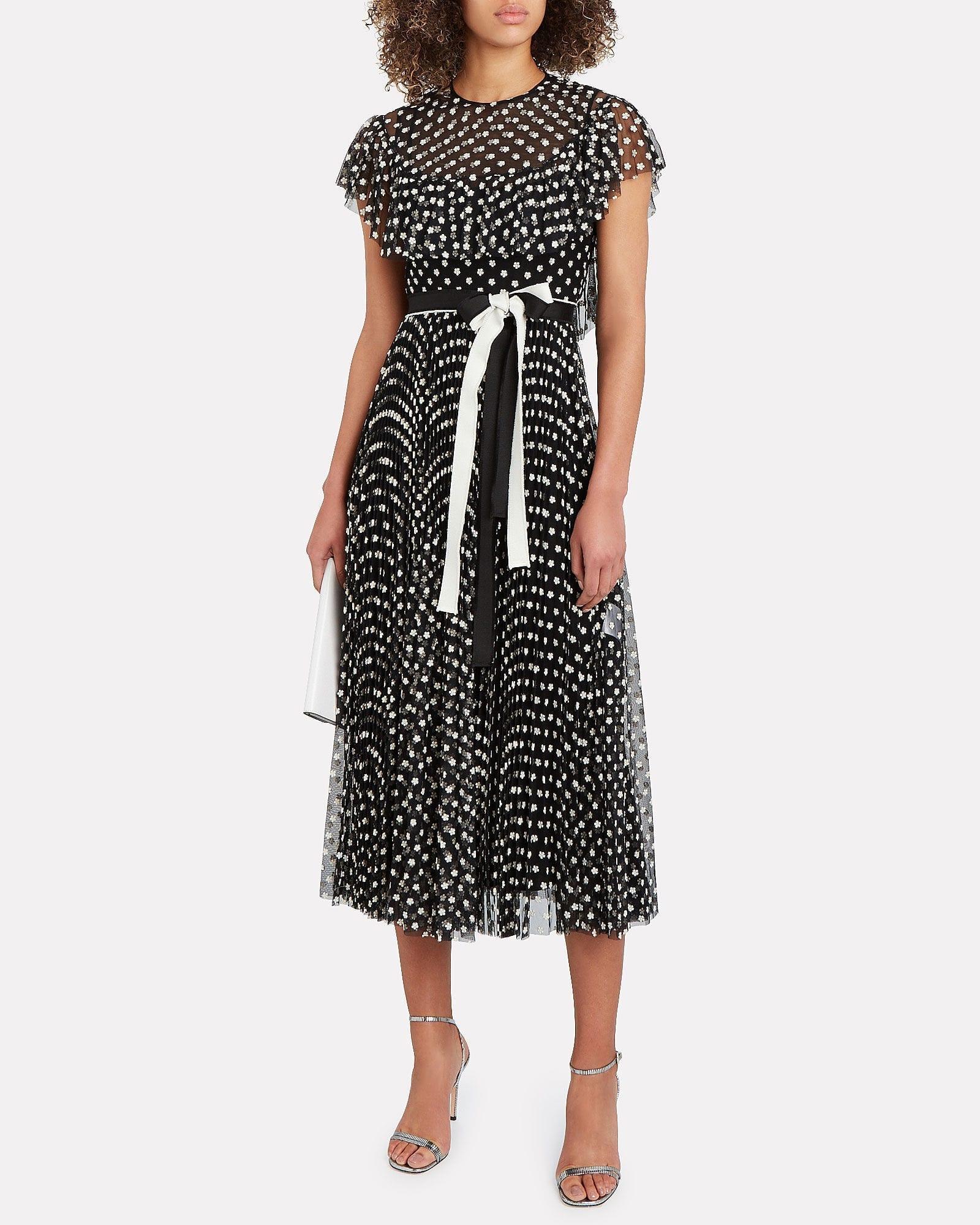 REDVALENTINO Embroidered Tulle Midi Dress