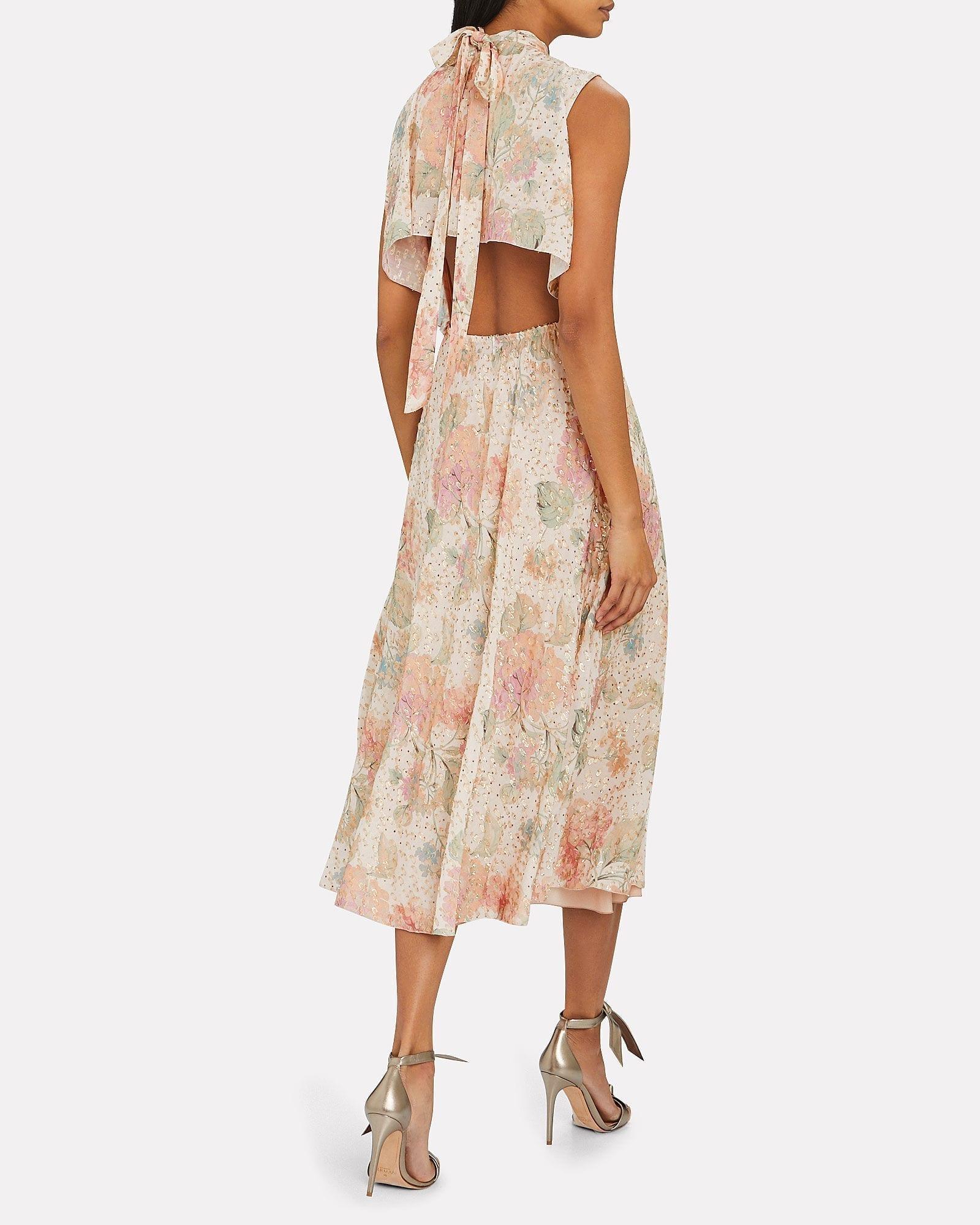 REDVALENTINO Lurex Floral Midi Dress
