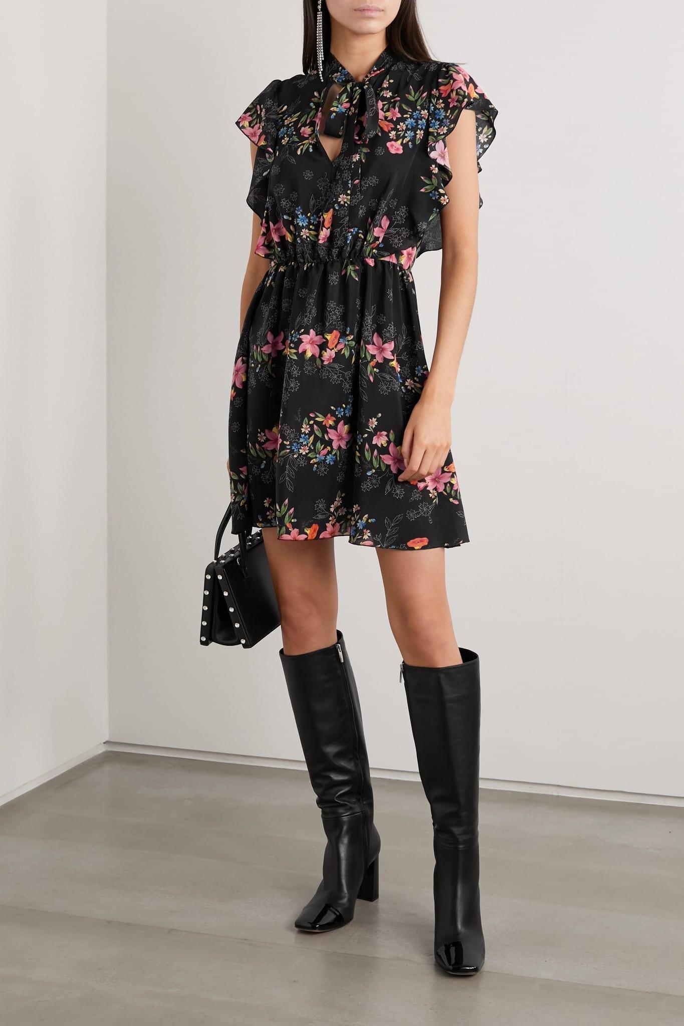 REDVALENTINO Ruffled Floral-print Silk Crepe De Chine Mini Dress