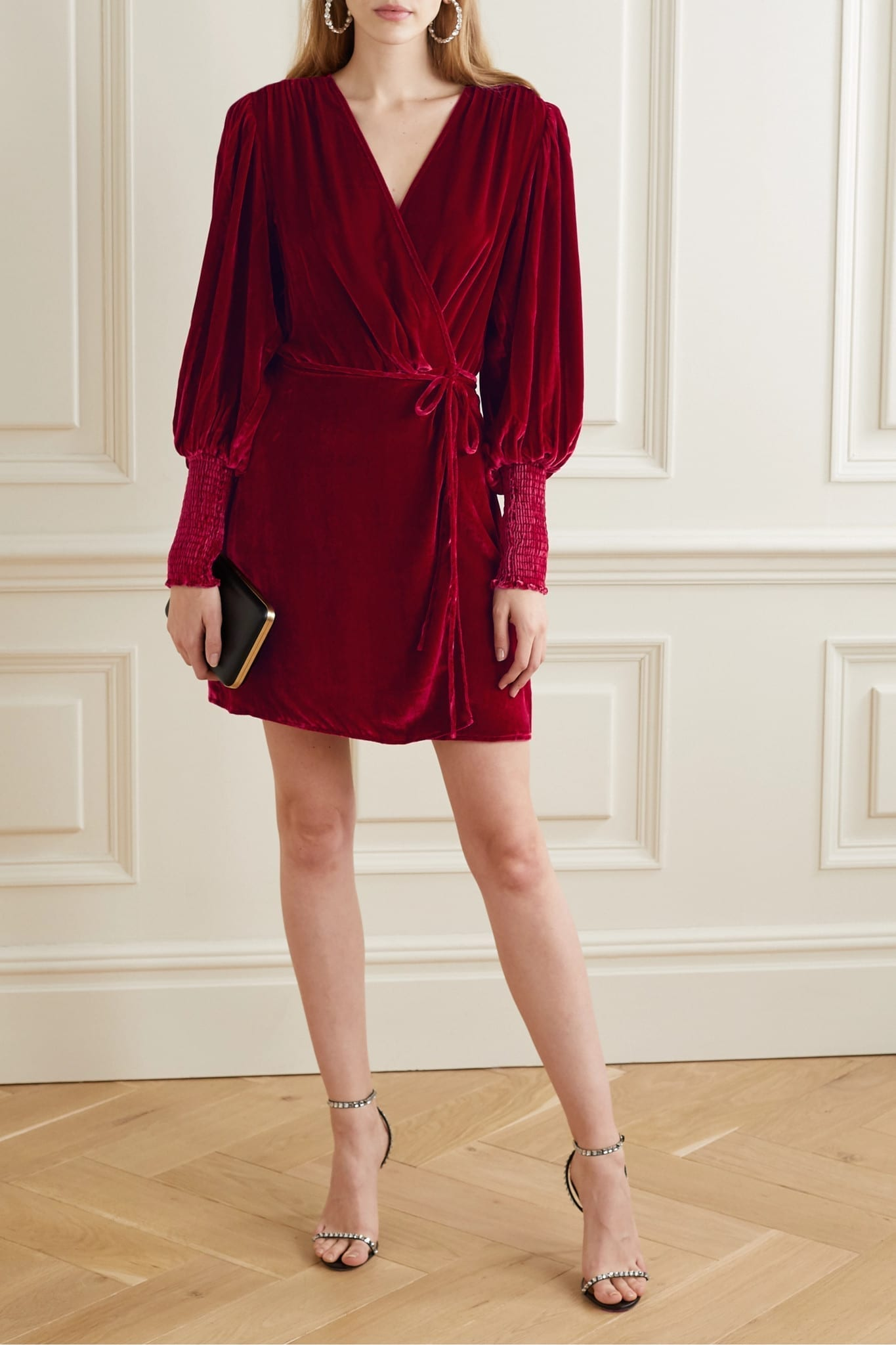 REFORMATION Boheme Velvet Wrap Dress