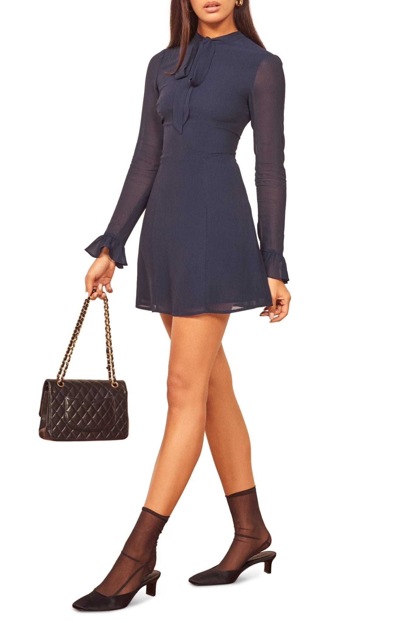 REFORMATION Fox Tie Neck Long Sleeve Mini Dress