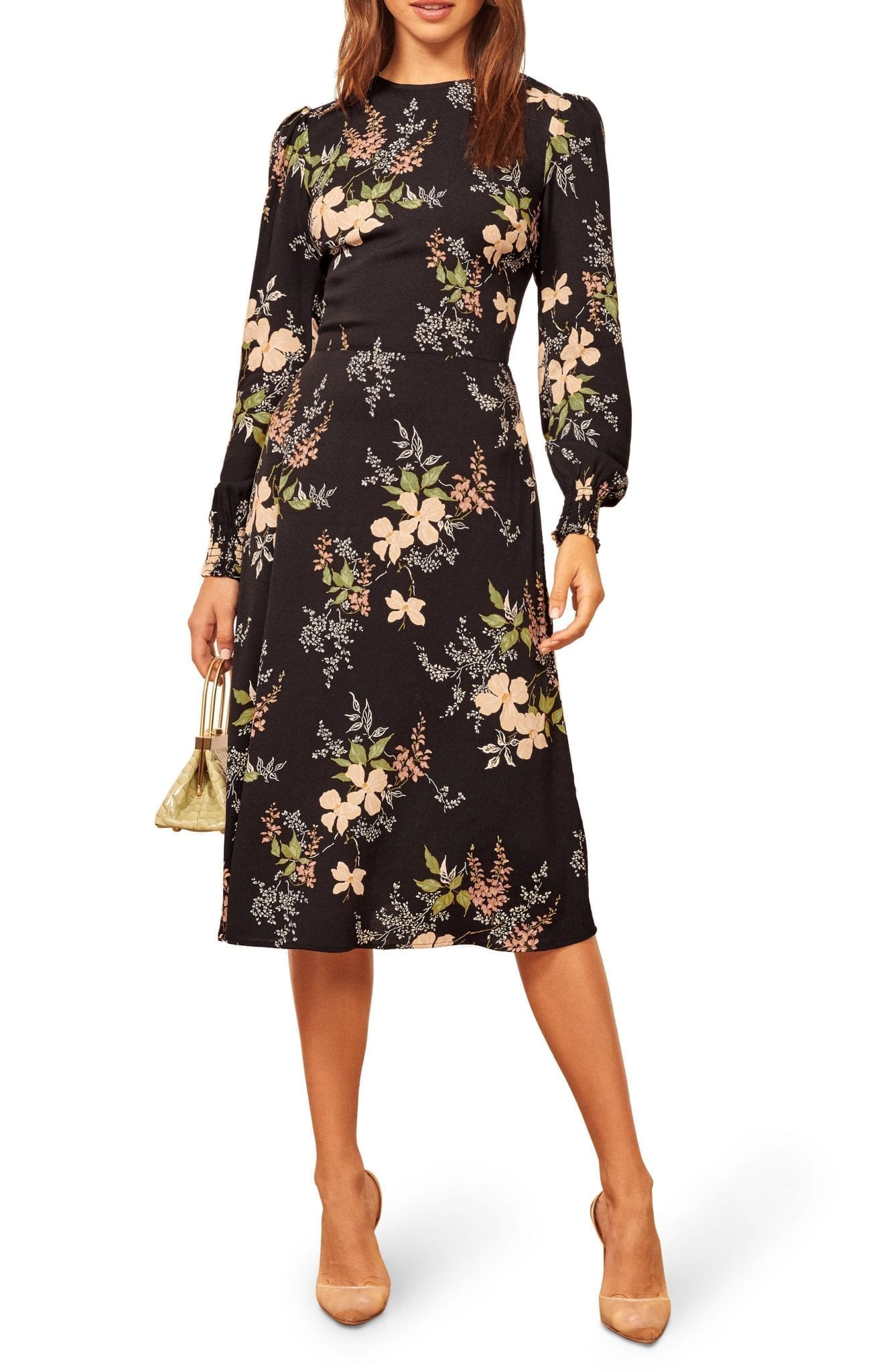REFORMATION Kellan Floral Long Sleeve Dress