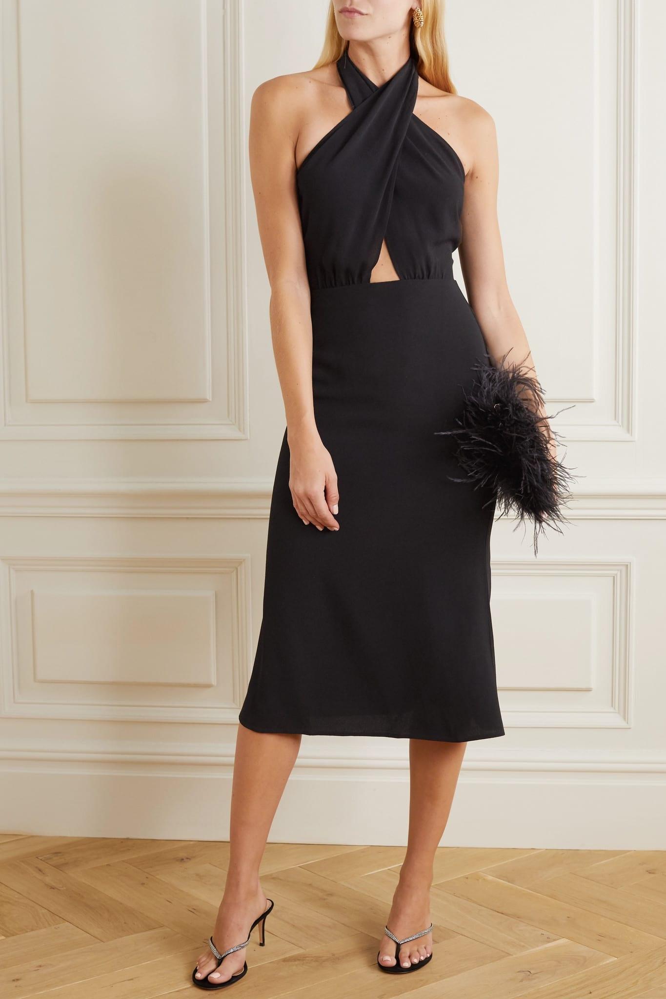 REFORMATION + Net Sustain Carlie Cutout Crepe Halterneck Midi Dress
