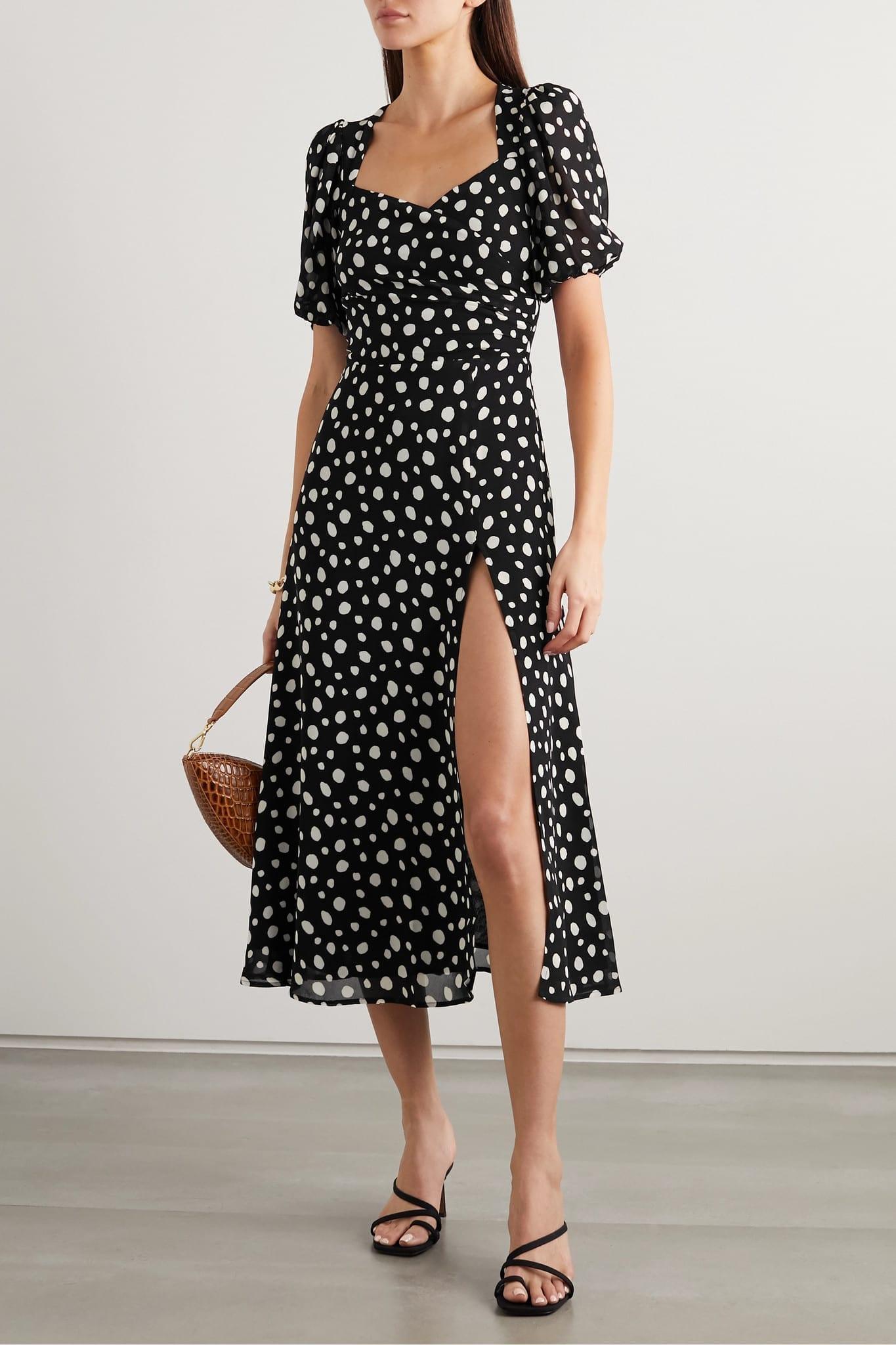 REFORMATION + Net Sustain Wildflower Polka-dot Georgette Midi Dress