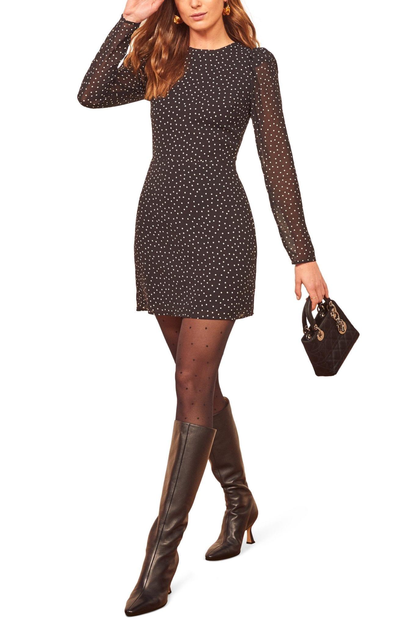 REFORMATION Romee Polka Dot Long Sleeve Mini Dress