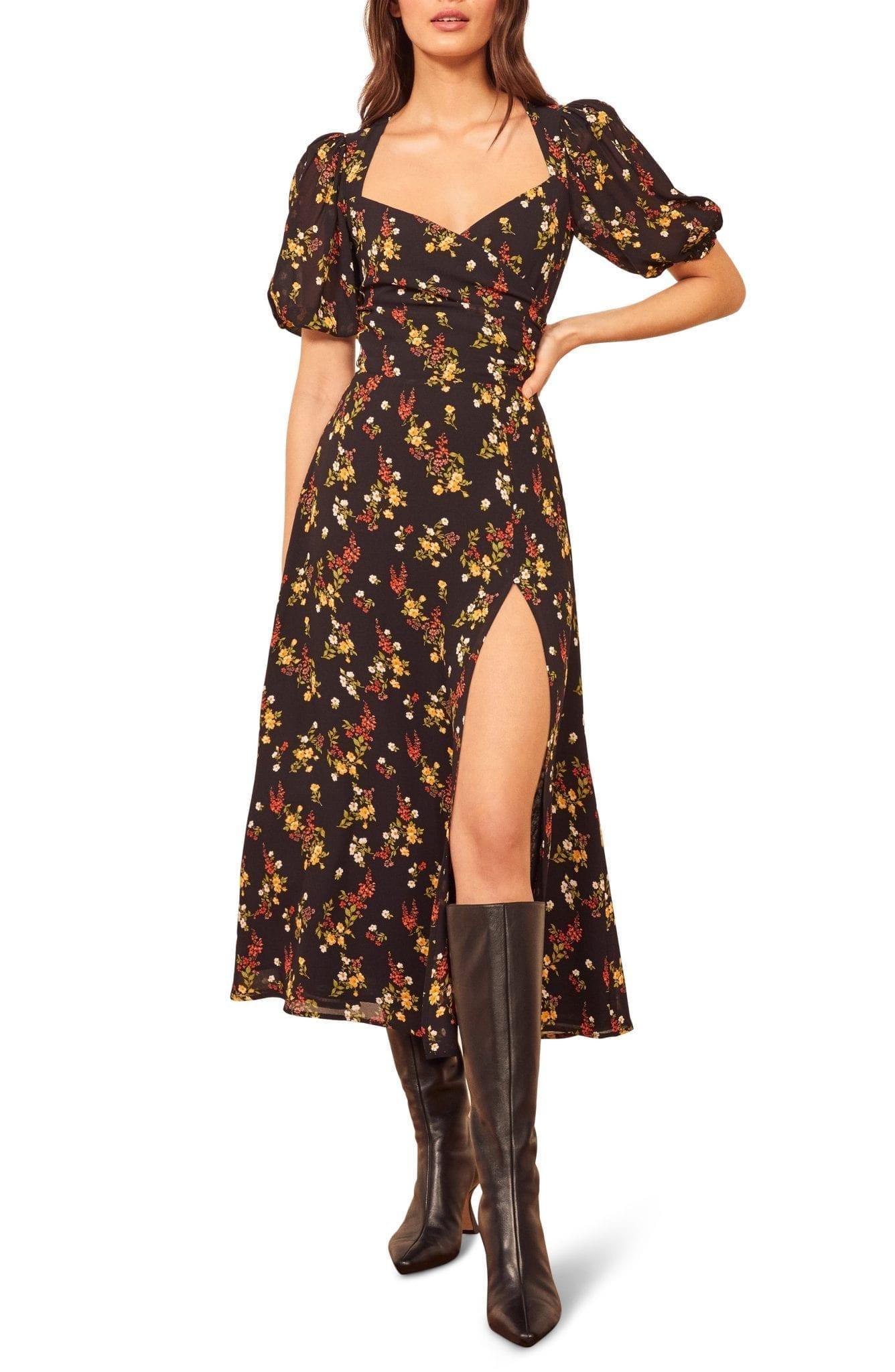 REFORMATION Wildflower Open Back Side Slit Dress