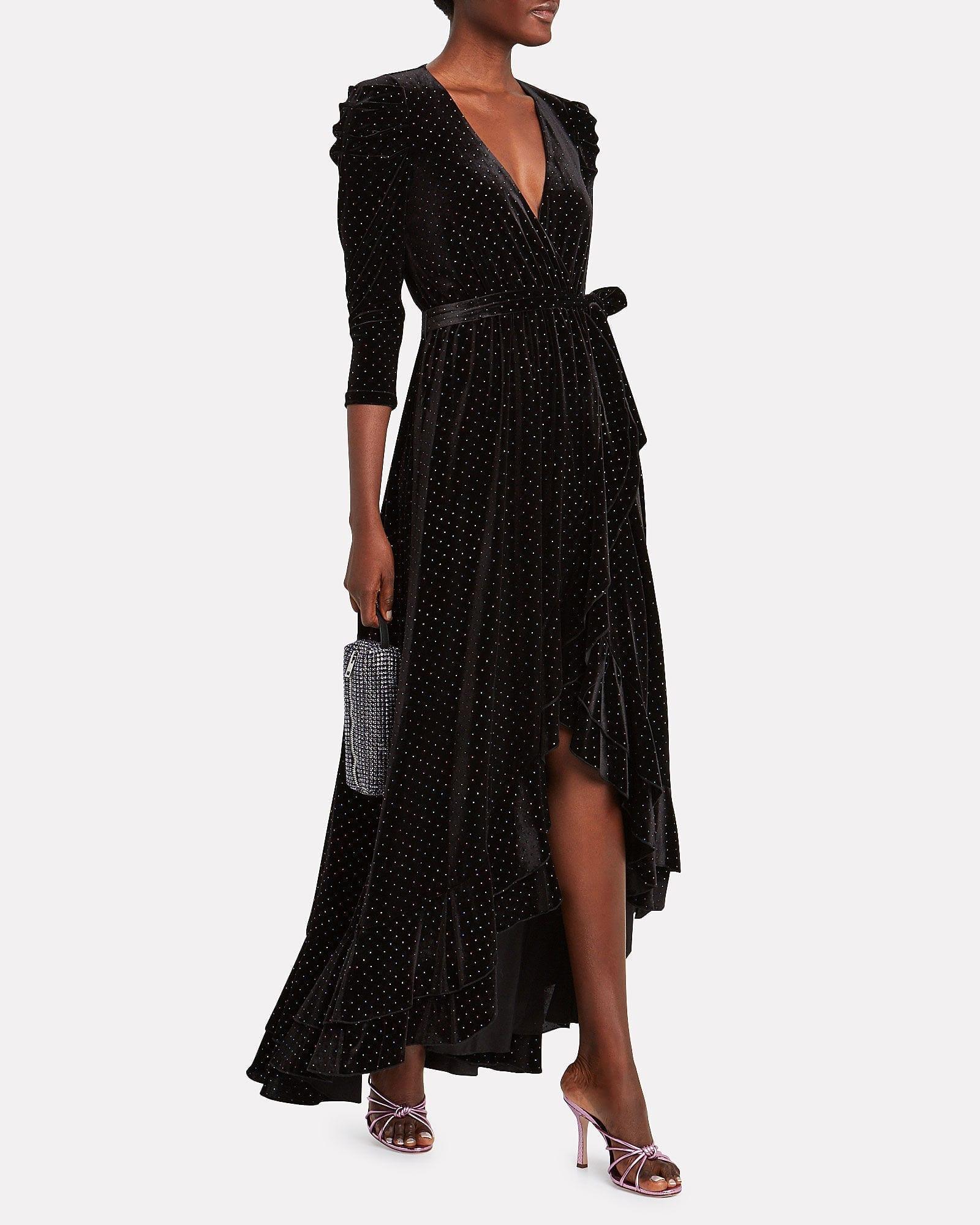 RETROFÊTE Flora Rhinestone Velvet Wrap Dress