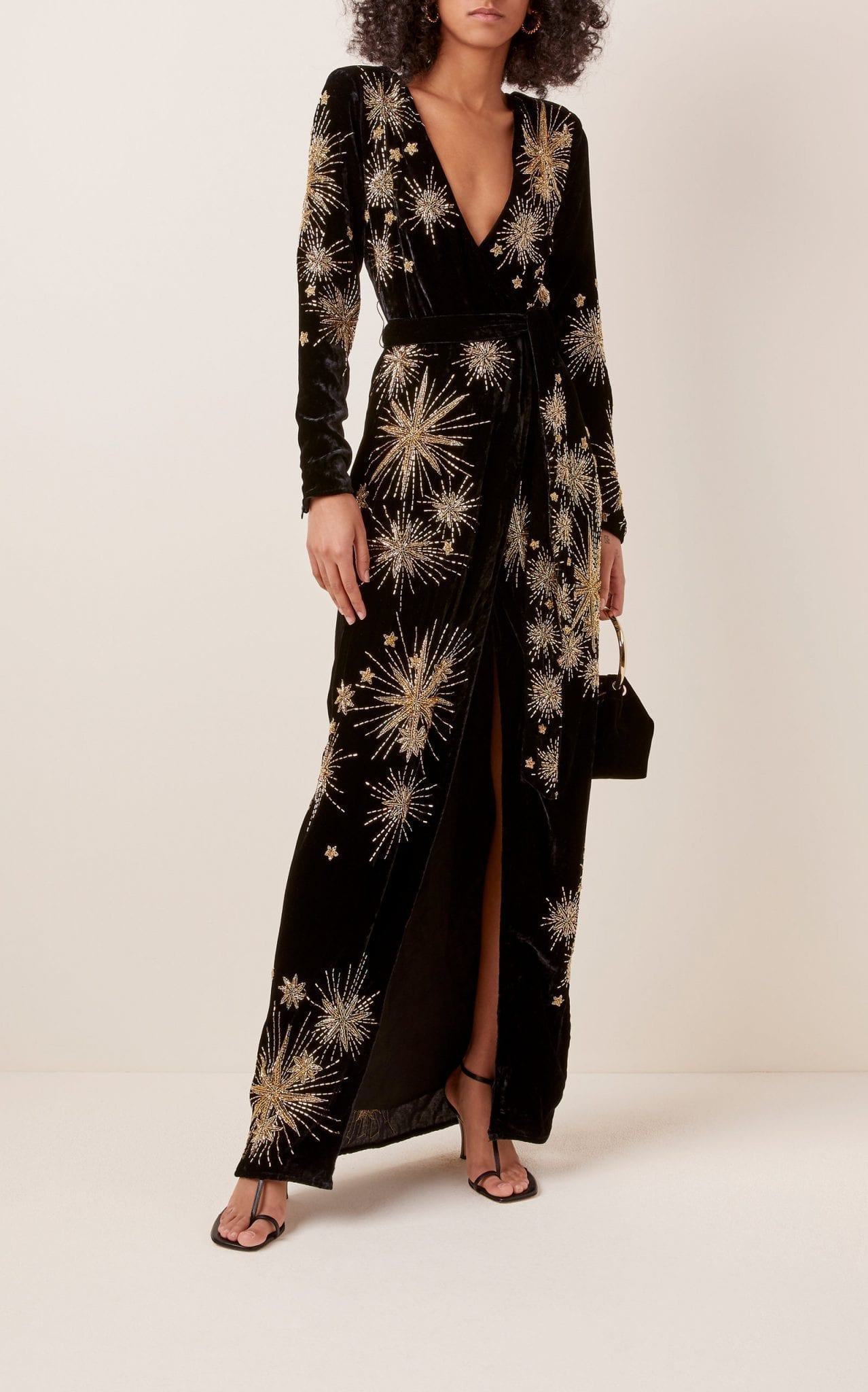 RETROFÊTE Rita Embellished Velvet Maxi Dress