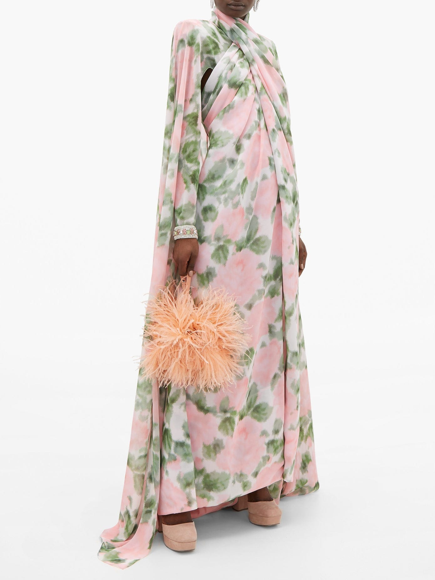 RICHARD QUINN Crossover Cape-back Floral-print Chiffon Gown