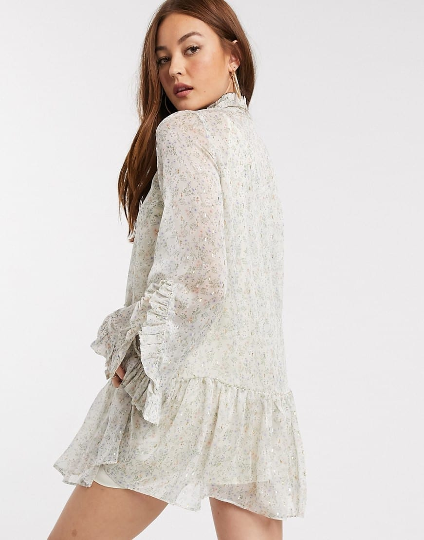 RIVER ISLAND Ditsy Floral Frill Smock Dress