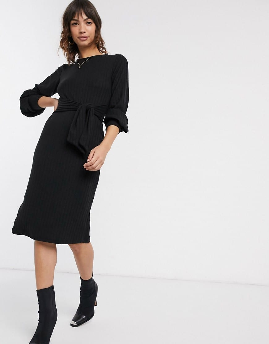 RIVER ISLAND Long Sleeved Ribbed Midi Dress