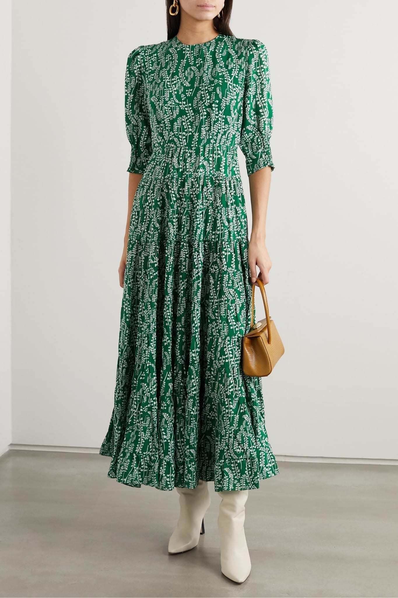 RIXO Kristen Tiered Floral-print Cotton And Silk-blend Midi Dress