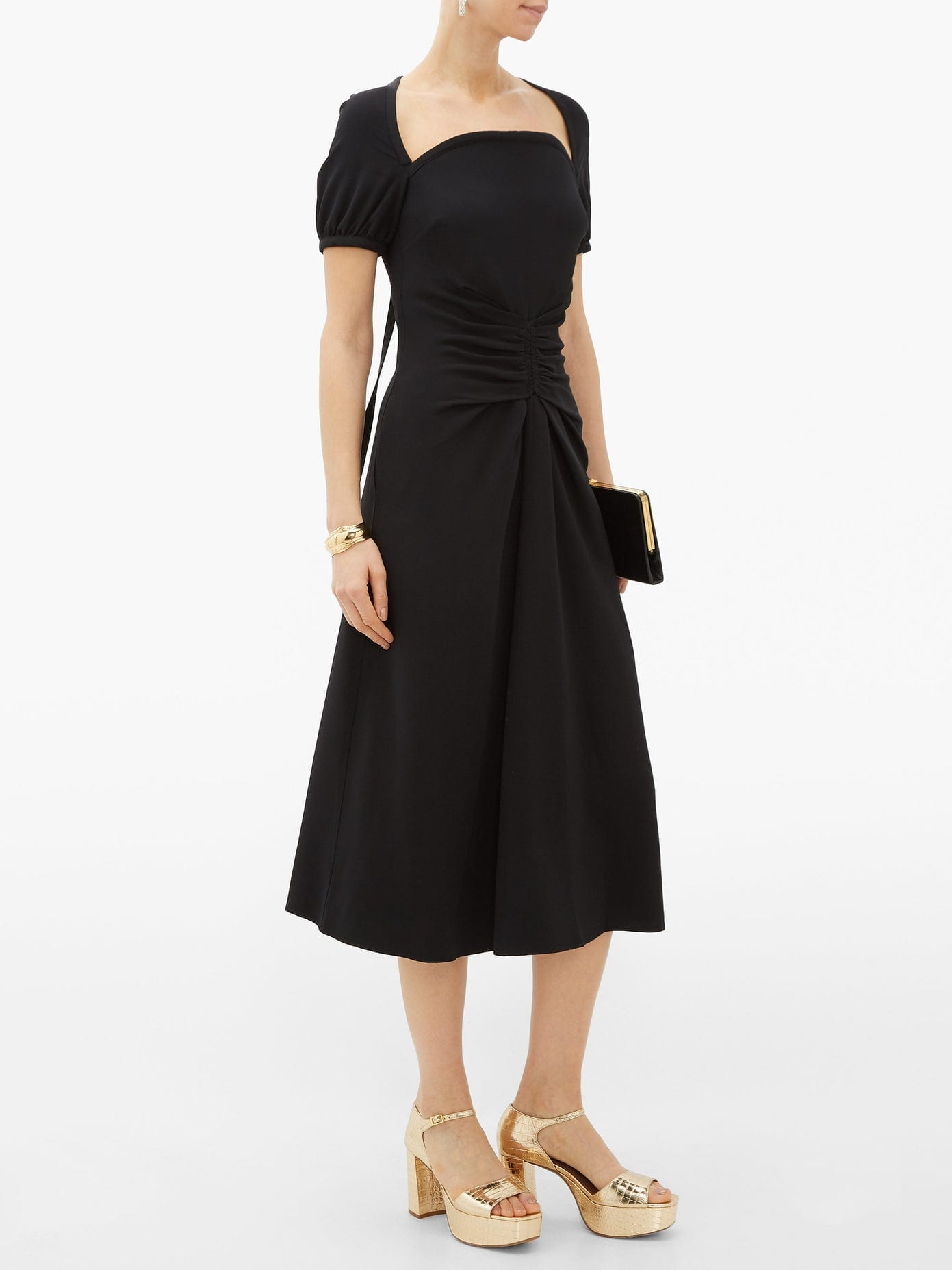 ROCHAS Tie-Back Ruched Cady Dress