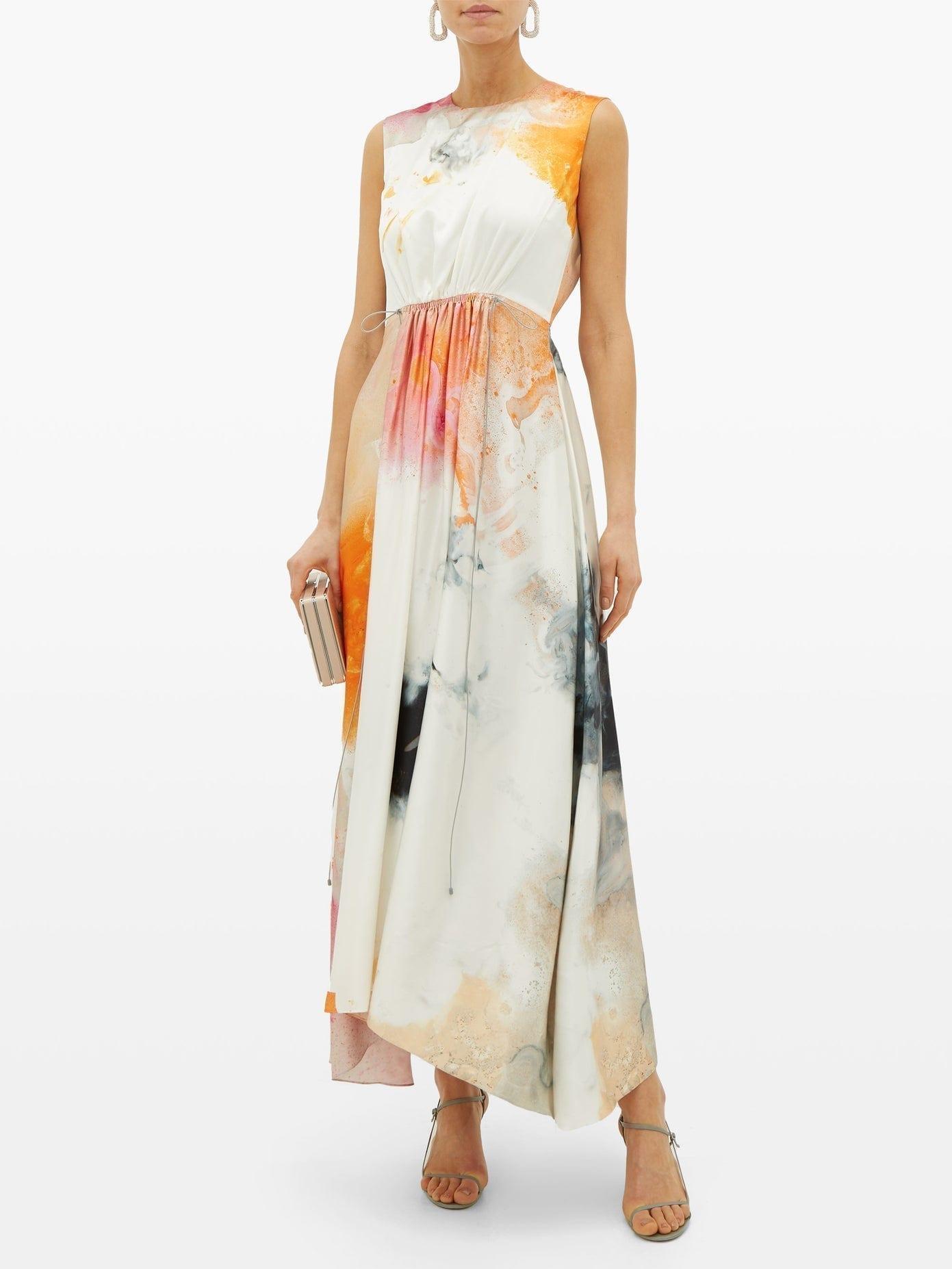 ROKSANDA Nysa Marbled-print Sleeveless Silk Dress