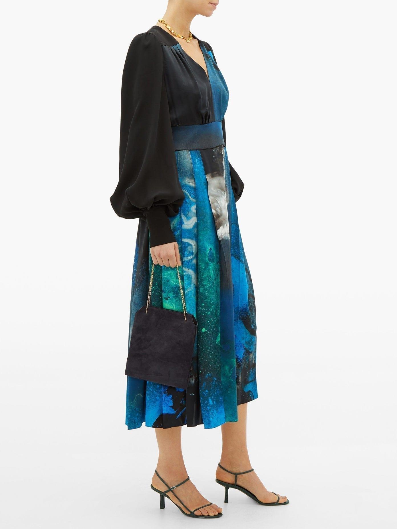 ROKSANDA Teruko Cosmic-print Balloon-sleeve Silk Dress