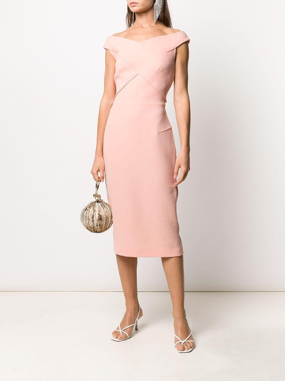 ROLAND MOURET Amarula Off-the-shoulder Dress