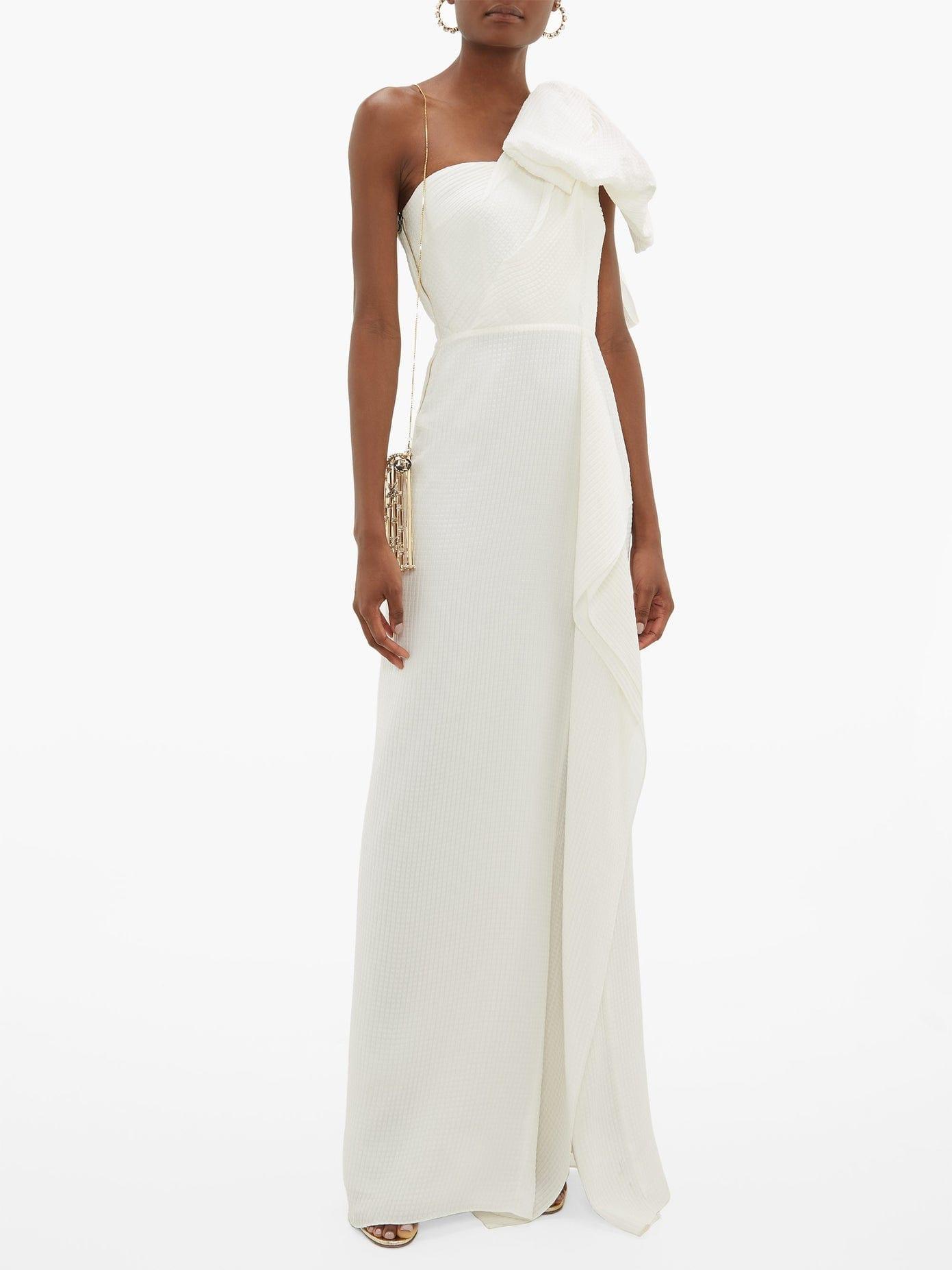 ROLAND MOURET Belhaven Bow-Shoulder Silk-Cloqué Gown