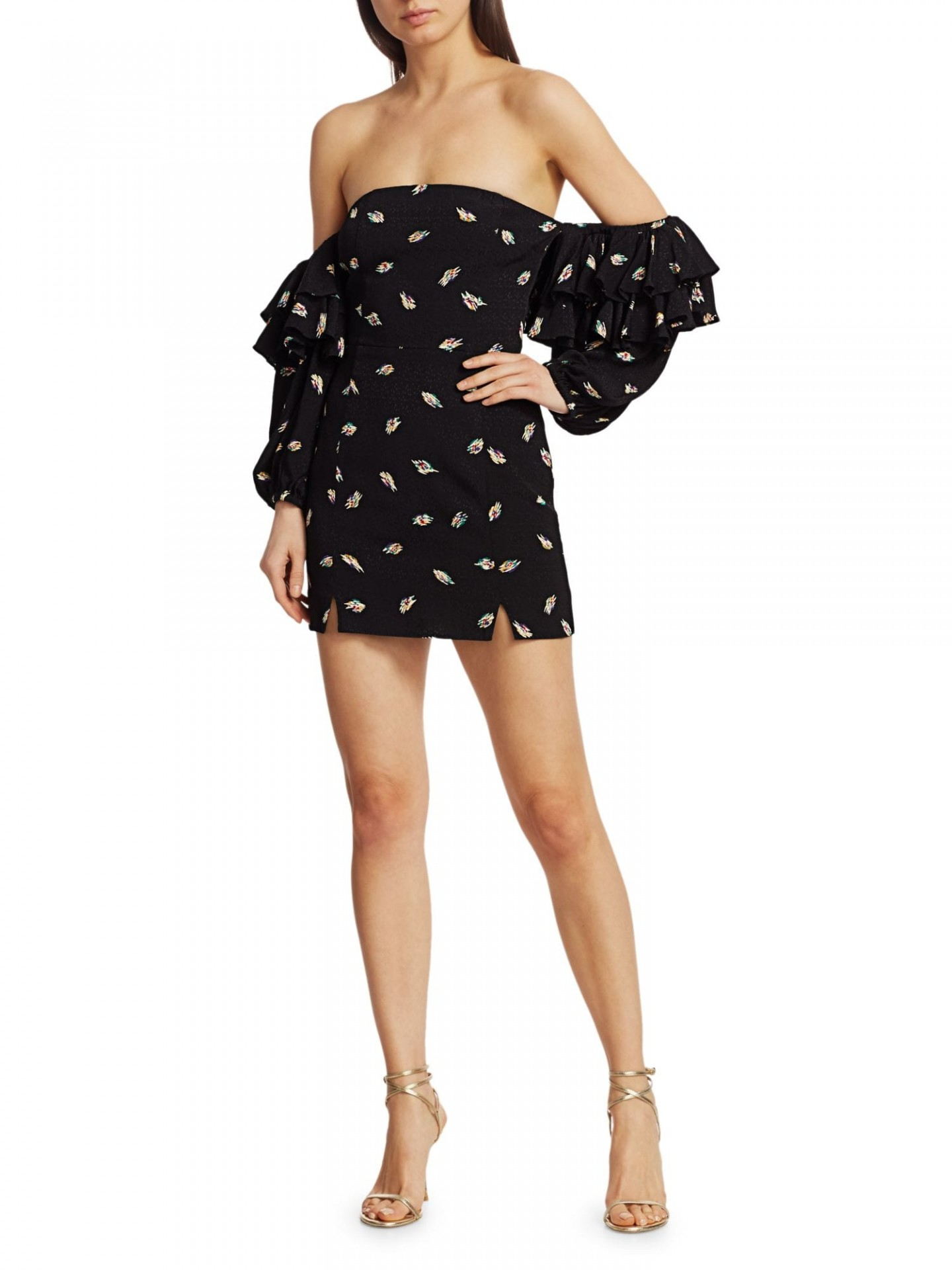 ROTATE BIRGER CHRISTENSEN Bethany Floral Off-the-Shoulder Tier-Ruffle Mini Sheath Dress