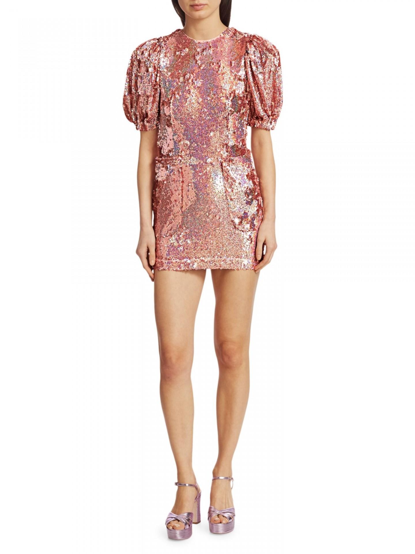 ROTATE BIRGER CHRISTENSEN Katie Puff Sleeve Sequin Mini Dress