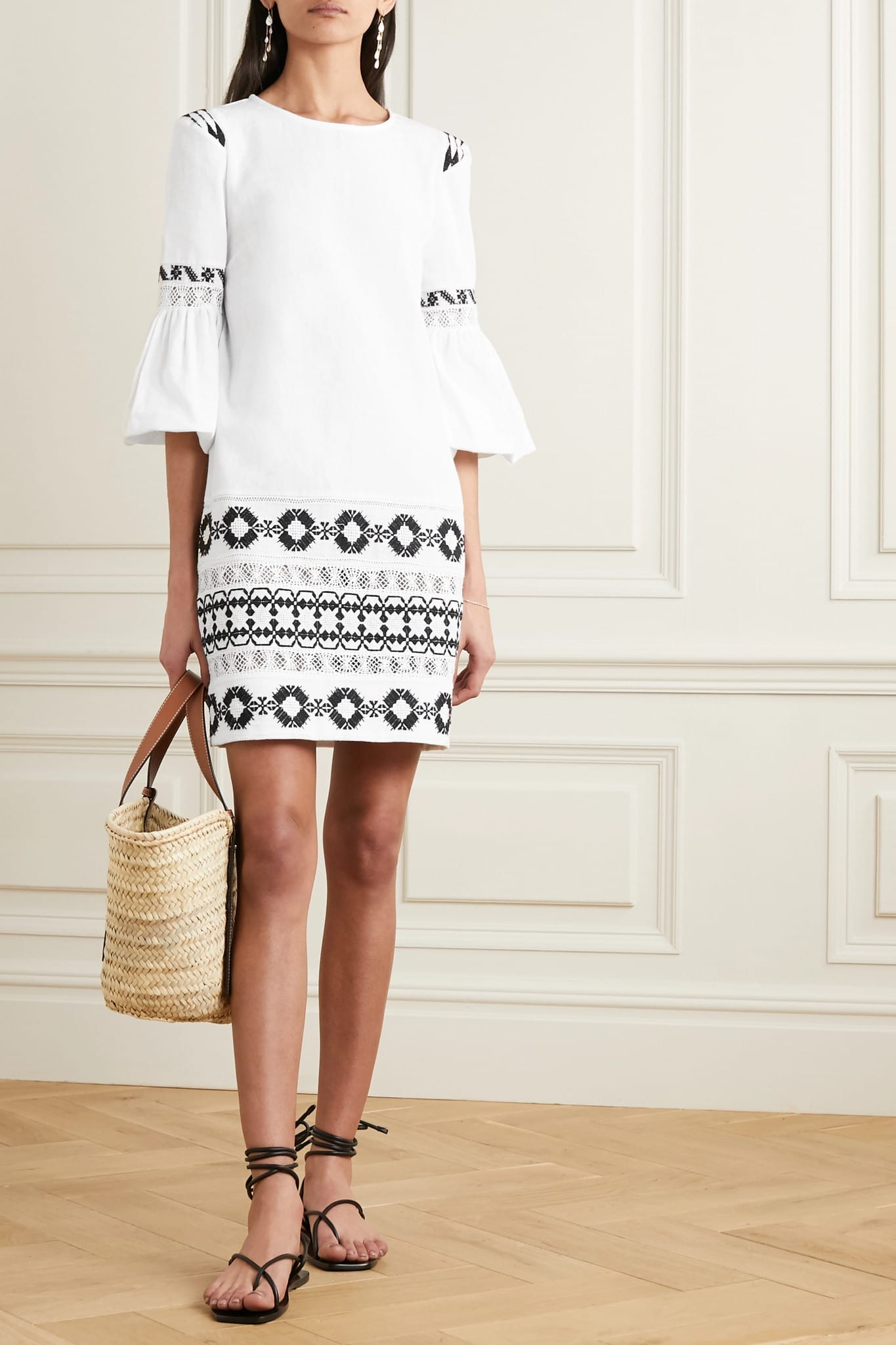 RUE MARISCAL Embroidered Crocheted Cotton Dress
