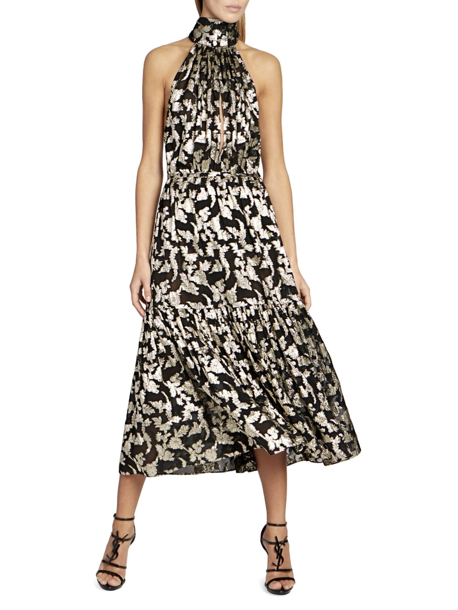 SAINT LAURENT Metallic Embroidered Halter Midi Dress