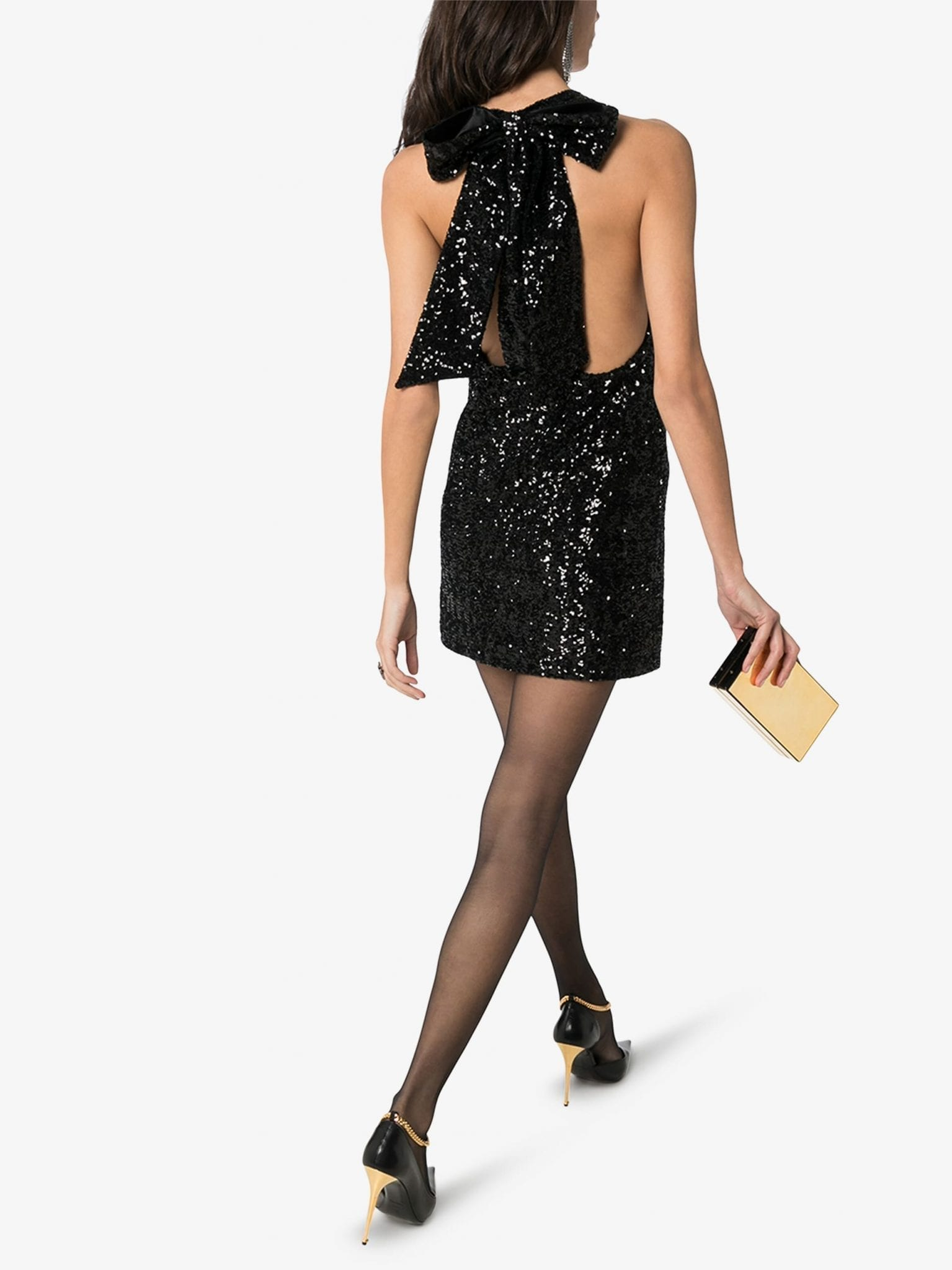 SAINT LAURENT Plunging Sequin Mini Dress