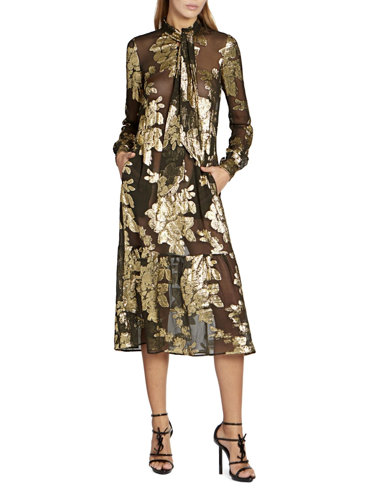 SAINT LAURENT Sheer Metallic Floral Midi Dress