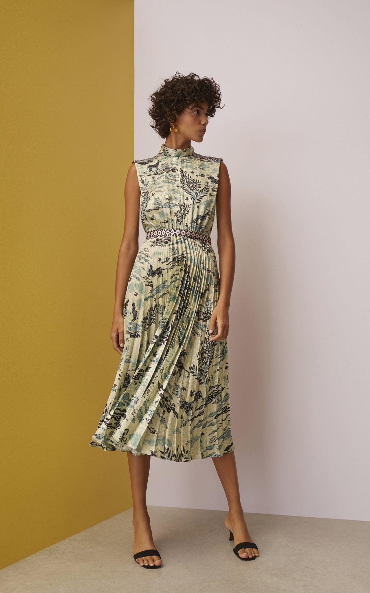 SALONI Fleur Floral-Print Plissé-Satin Midi Dress