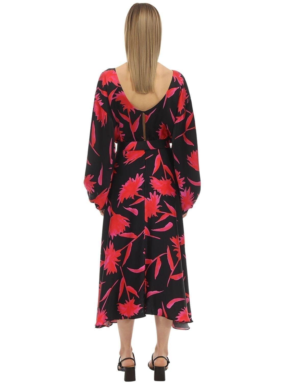 SALONI Kim B Printed Silk Satin Midi Dress