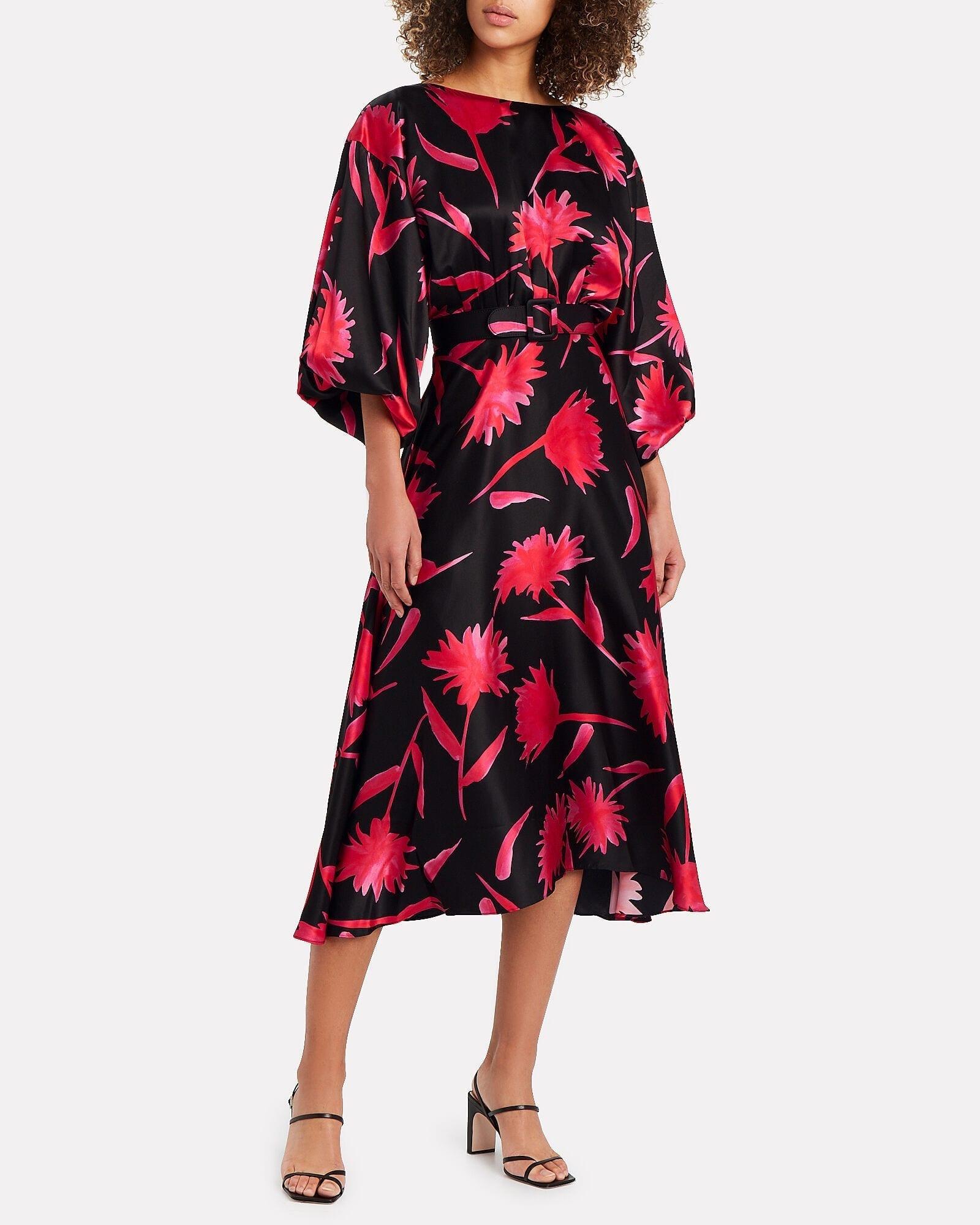 SALONI Kim Floral Silk Dress
