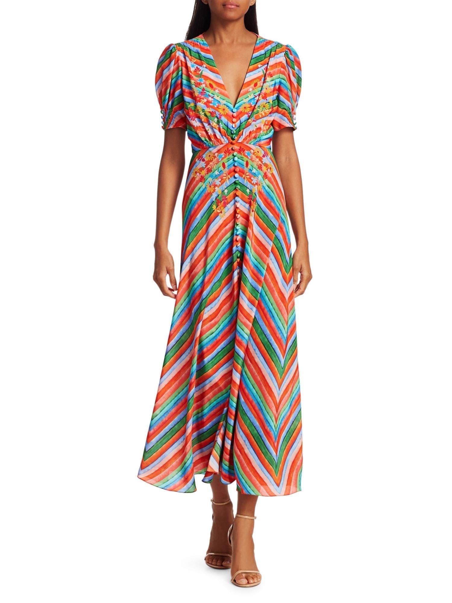 SALONI Lea Multicolor Chevron Stripe Silk Crepe De Chine A-Line Dress