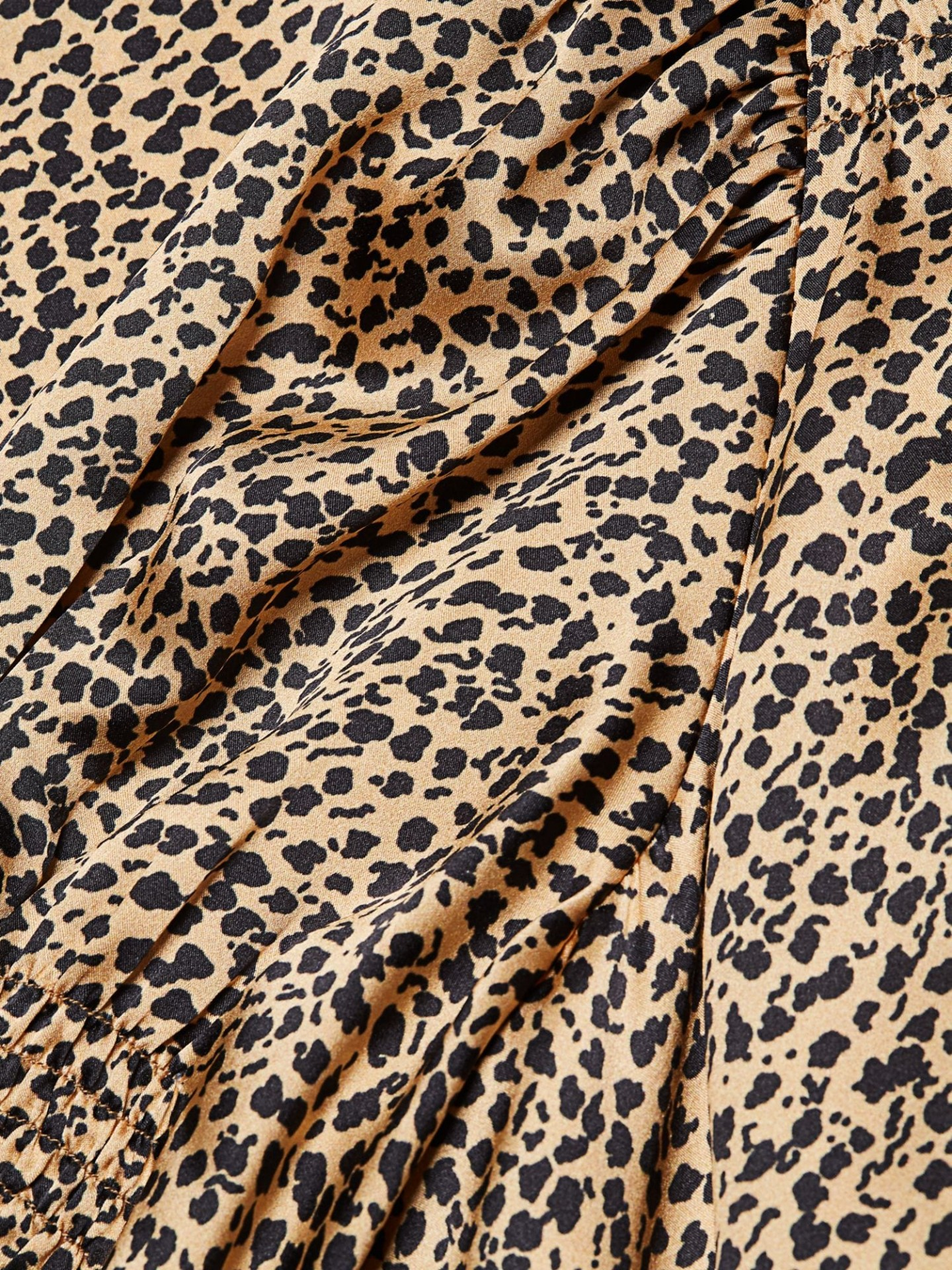 SALONI Leopard Silk Satin A-Line Dress
