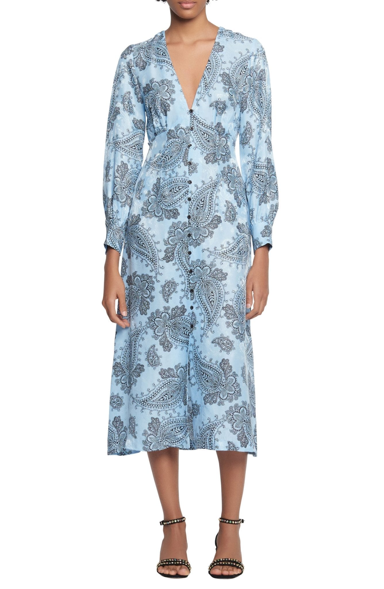 SANDRO Paisley Long Sleeve Midi Dress