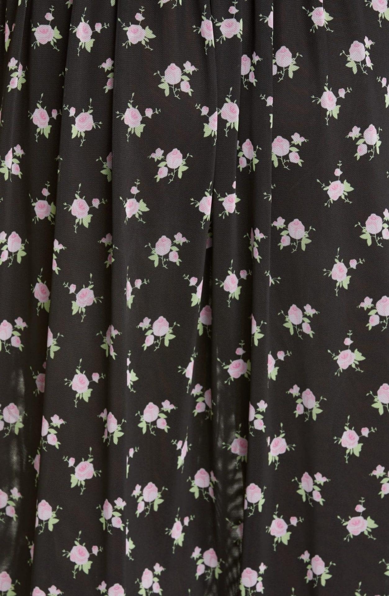 SANDY LIANG Misty Floral Mesh Midi Dress