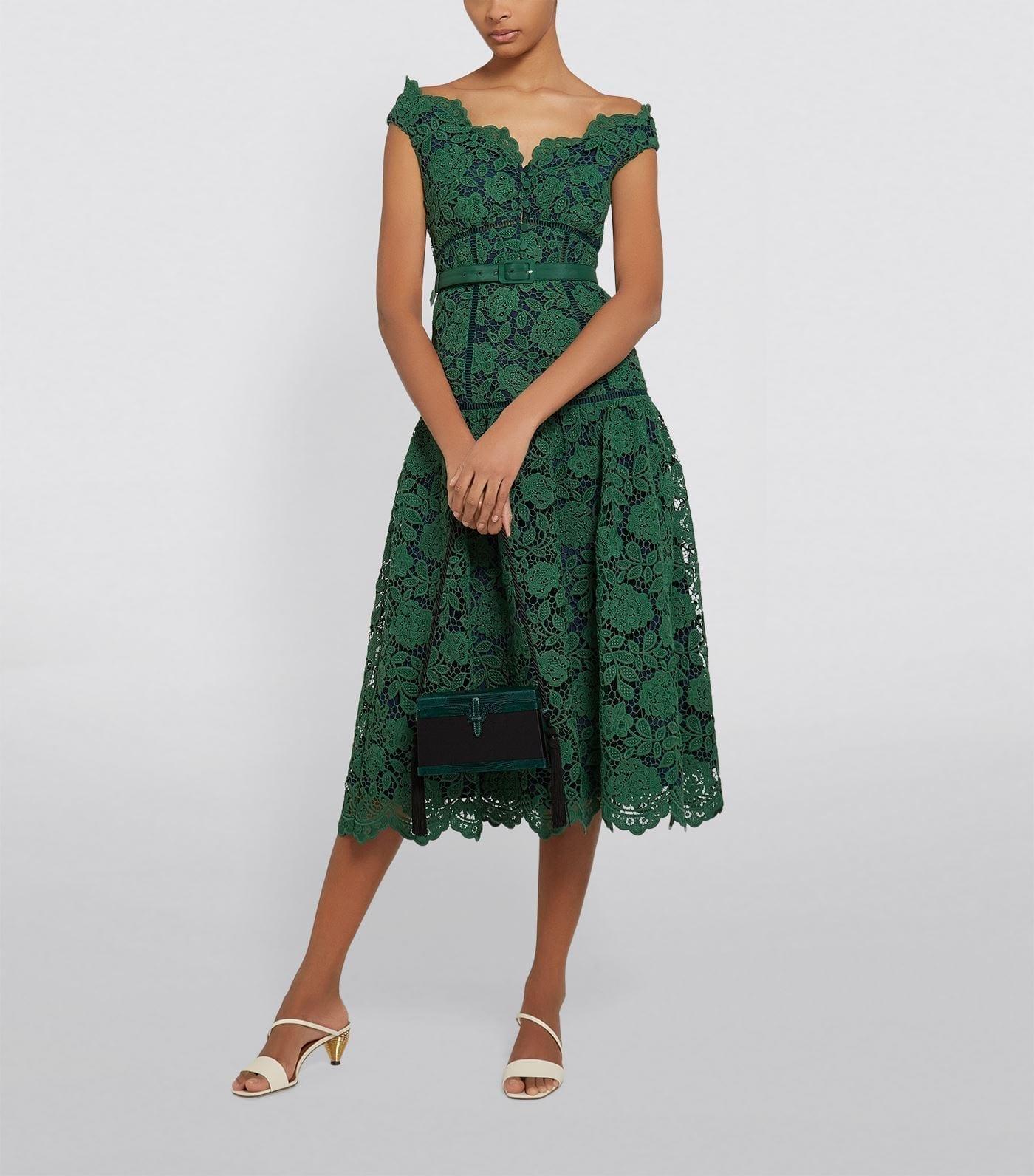 SELF-PORTRAIT Belted Lace Midi Dress