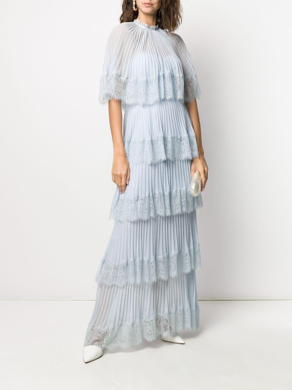 SELF-PORTRAIT Cape Tiered Maxi Dress