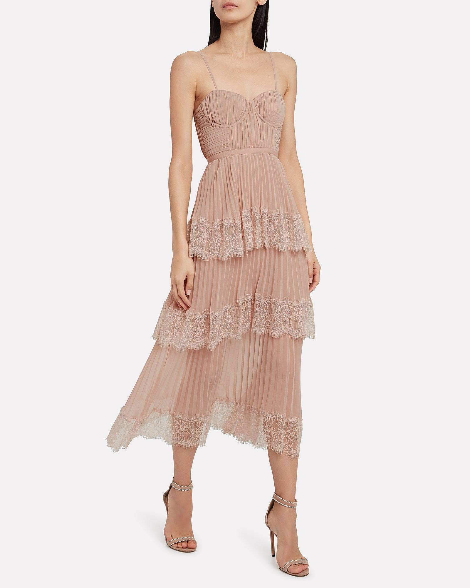 SELF-PORTRAIT Chiffon Lace-Trimmed Midi Dress