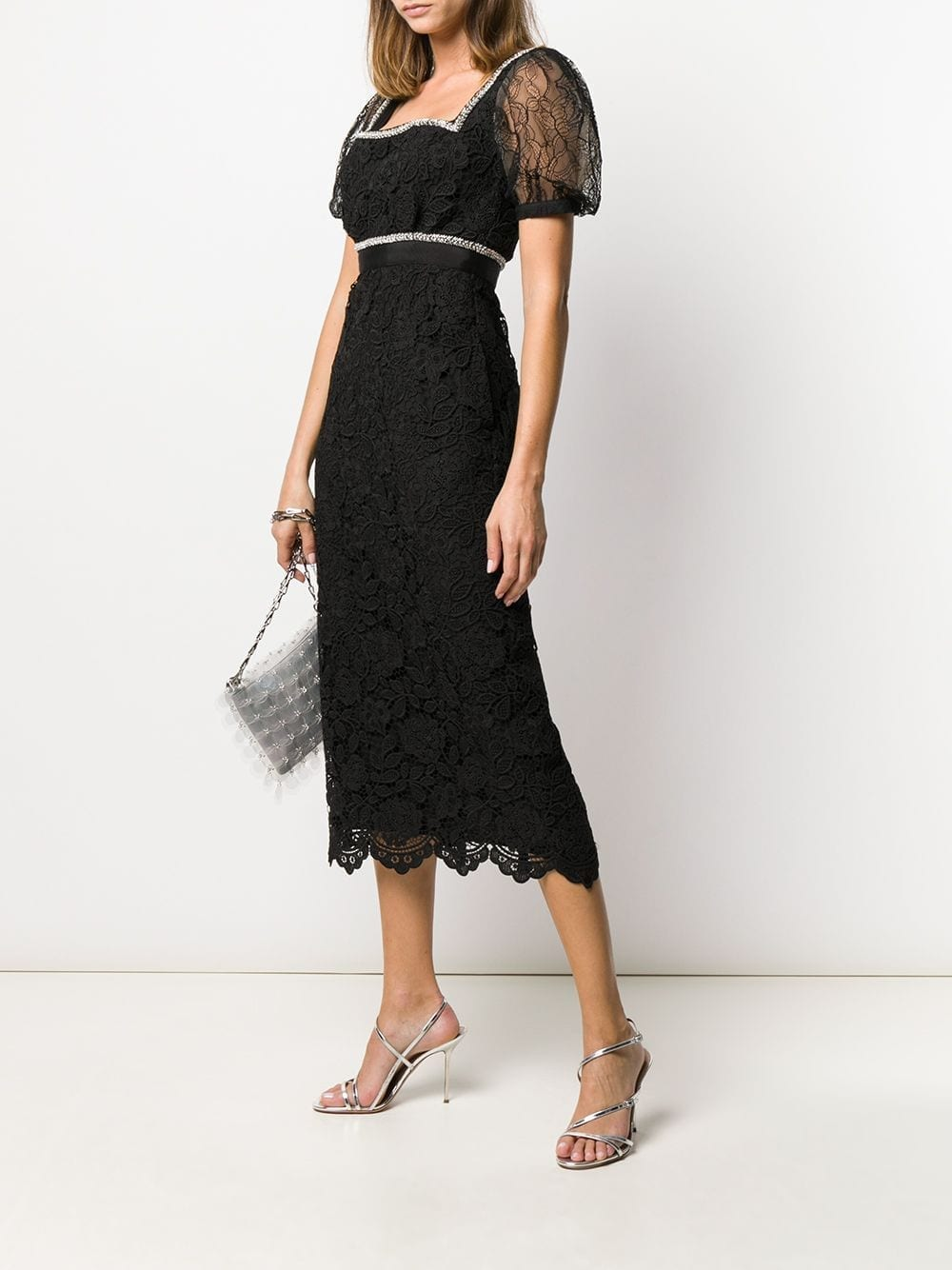 SELF-PORTRAIT Crystal-embellished Lace Midi Dress