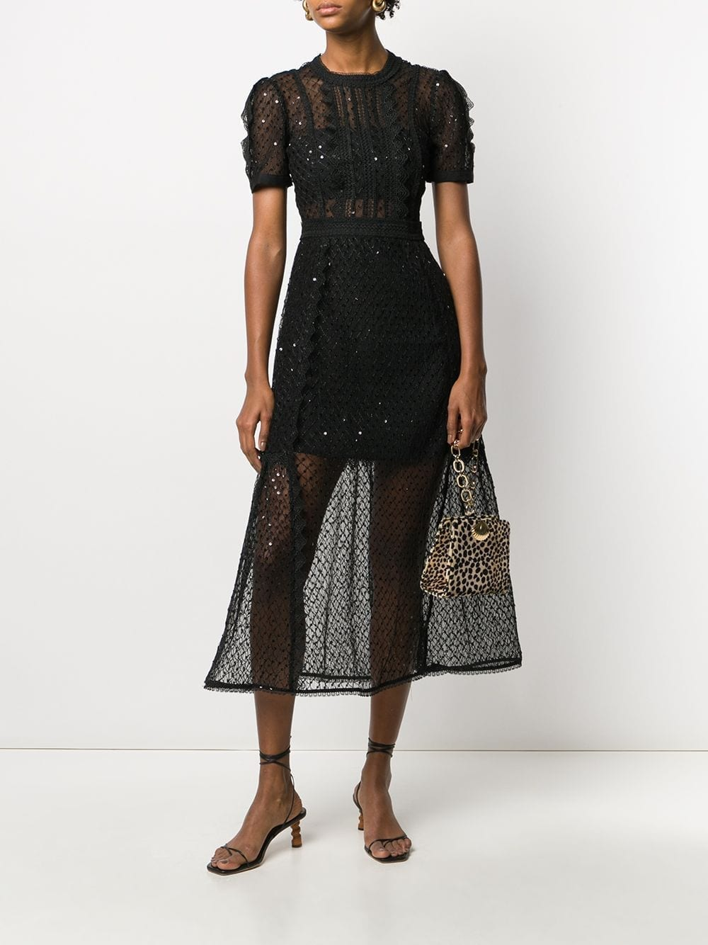 SELF-PORTRAIT Lace-trim Midi Dress