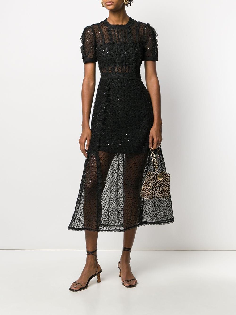 SELF-PORTRAIT Lace-trim Midi Dress