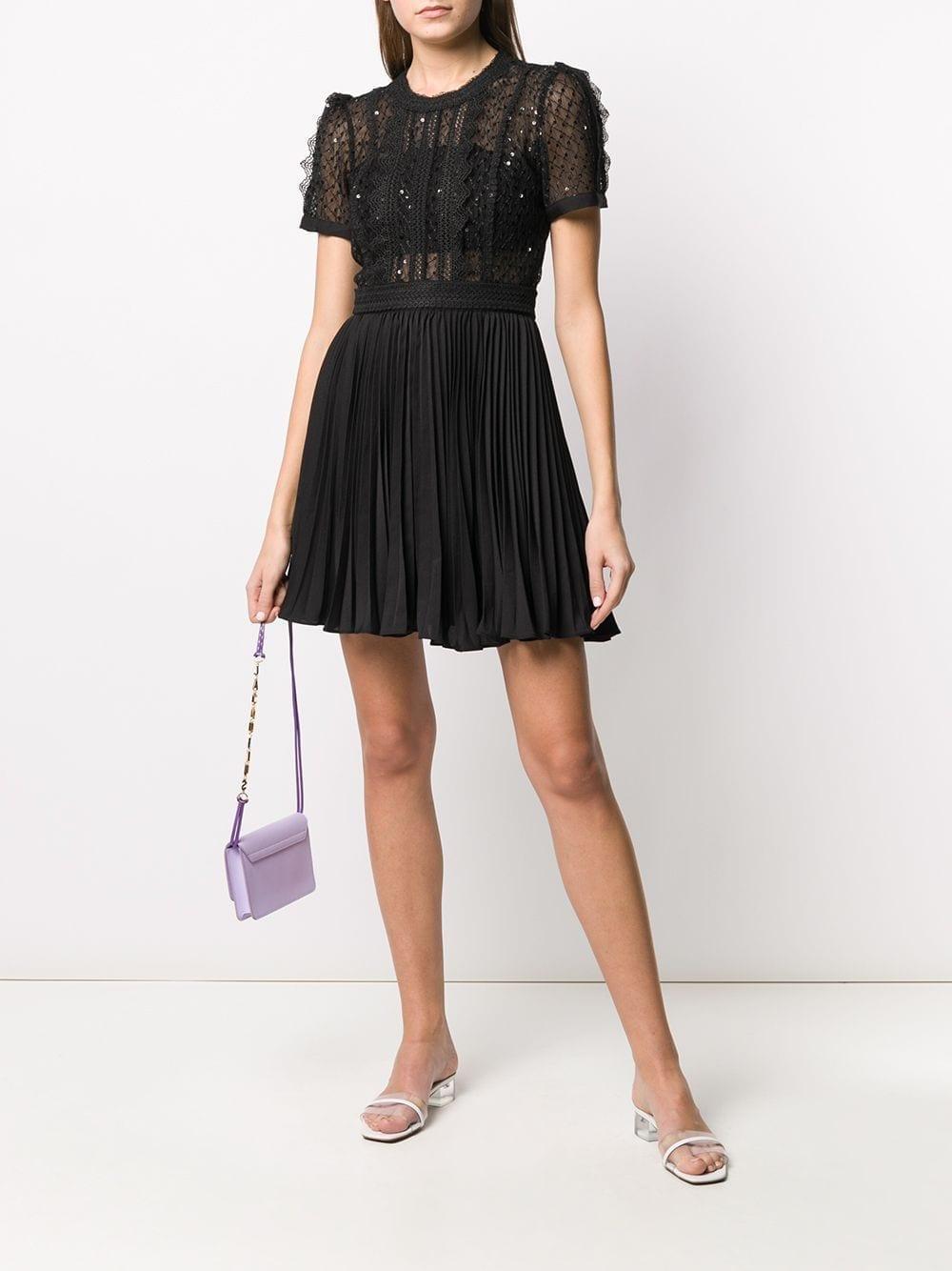 SELF-PORTRAIT Lace-trimmed A-line Mini Dress
