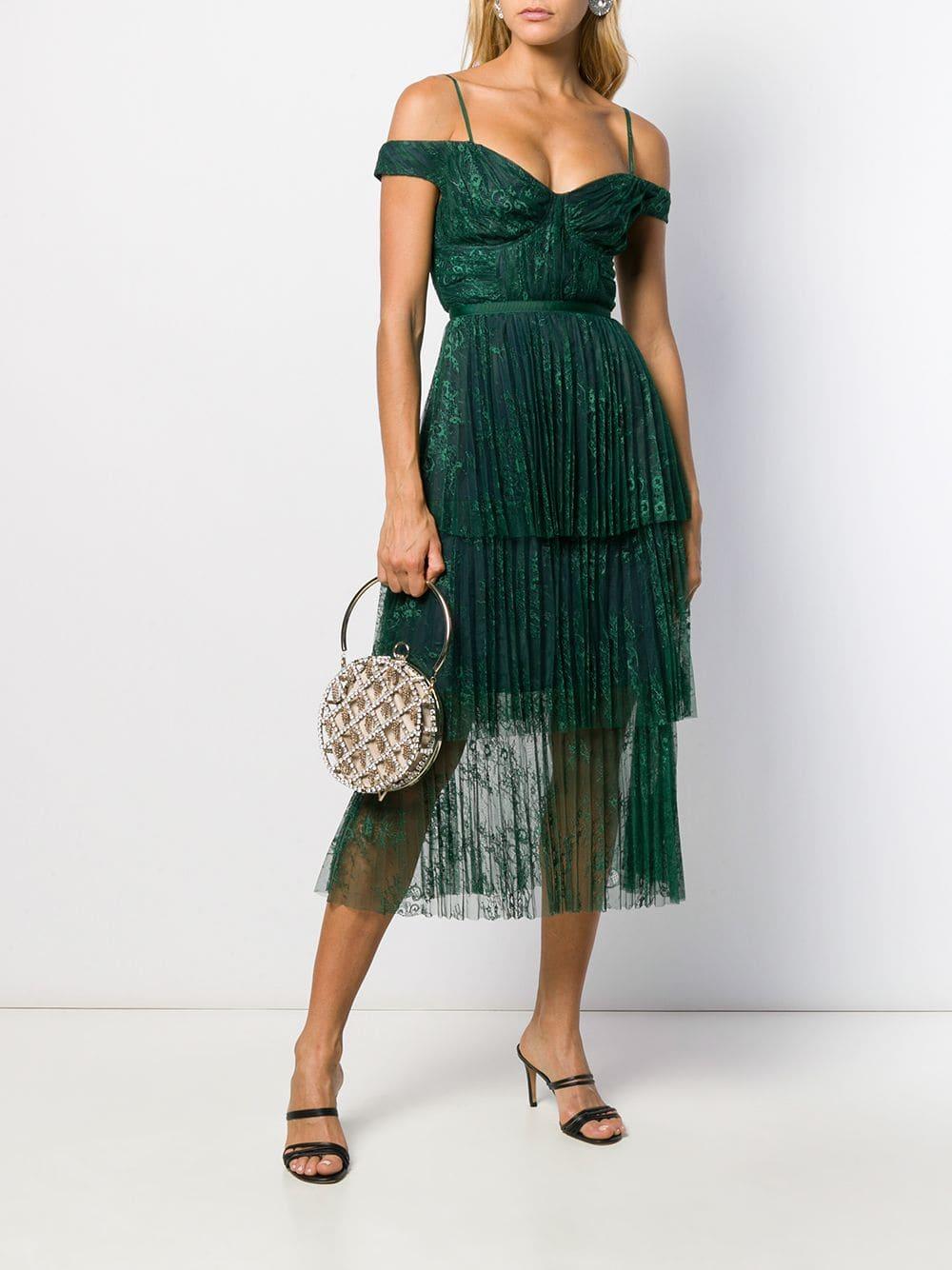 SELF-PORTRAIT Pleated Lace Midi Dress