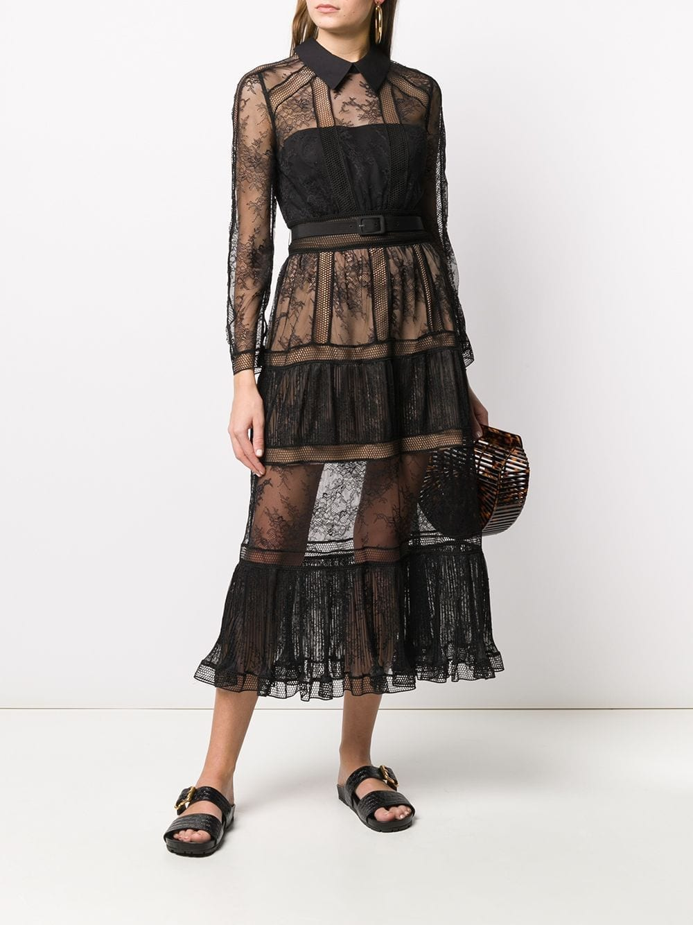 SELF-PORTRAIT Point-collar Lace Midi Dress