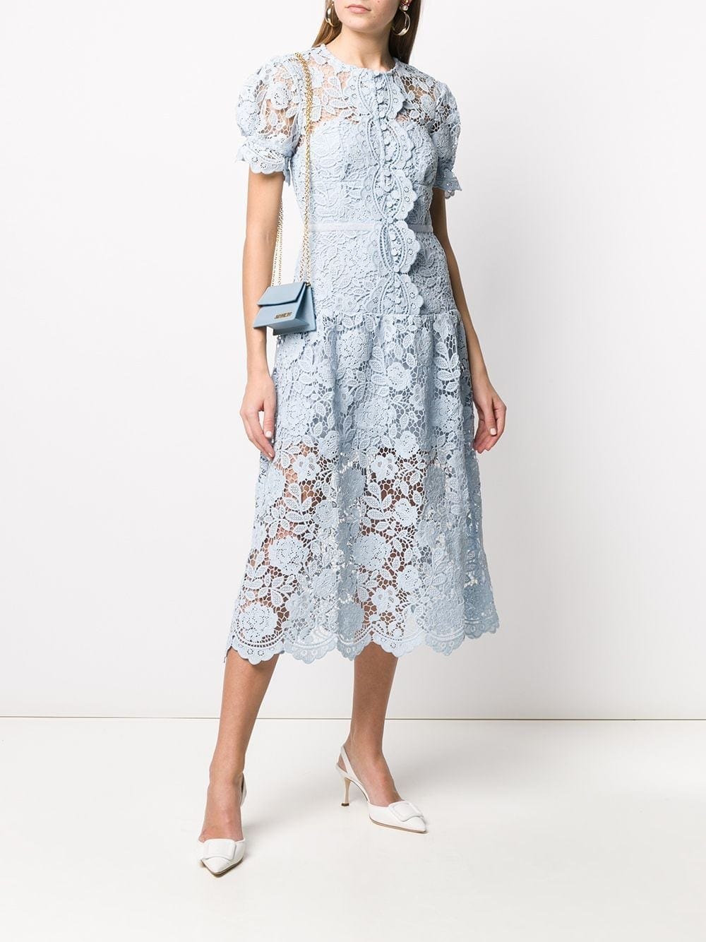 SELF-PORTRAIT Puffball-sleeved Lace Midi Dress