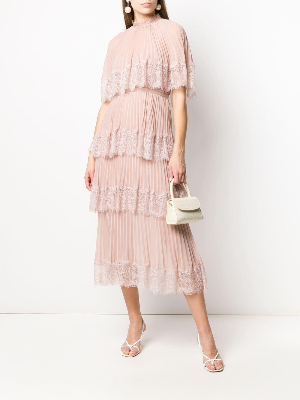 SELF-PORTRAIT Tiered Pleated Midi Dress