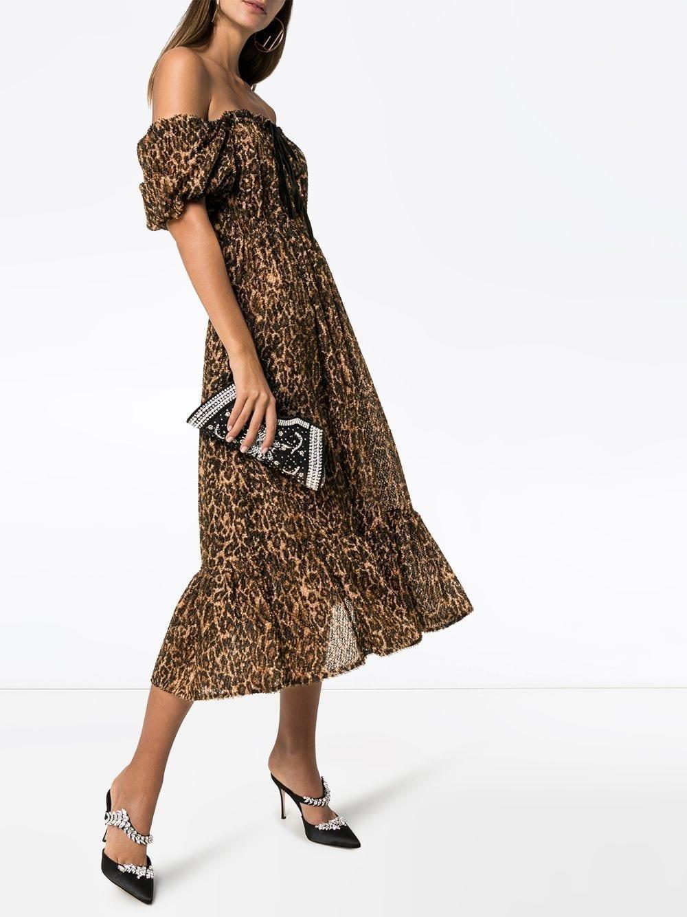 SHRIMPS Neptune Leopard Print Textured Midi Dress