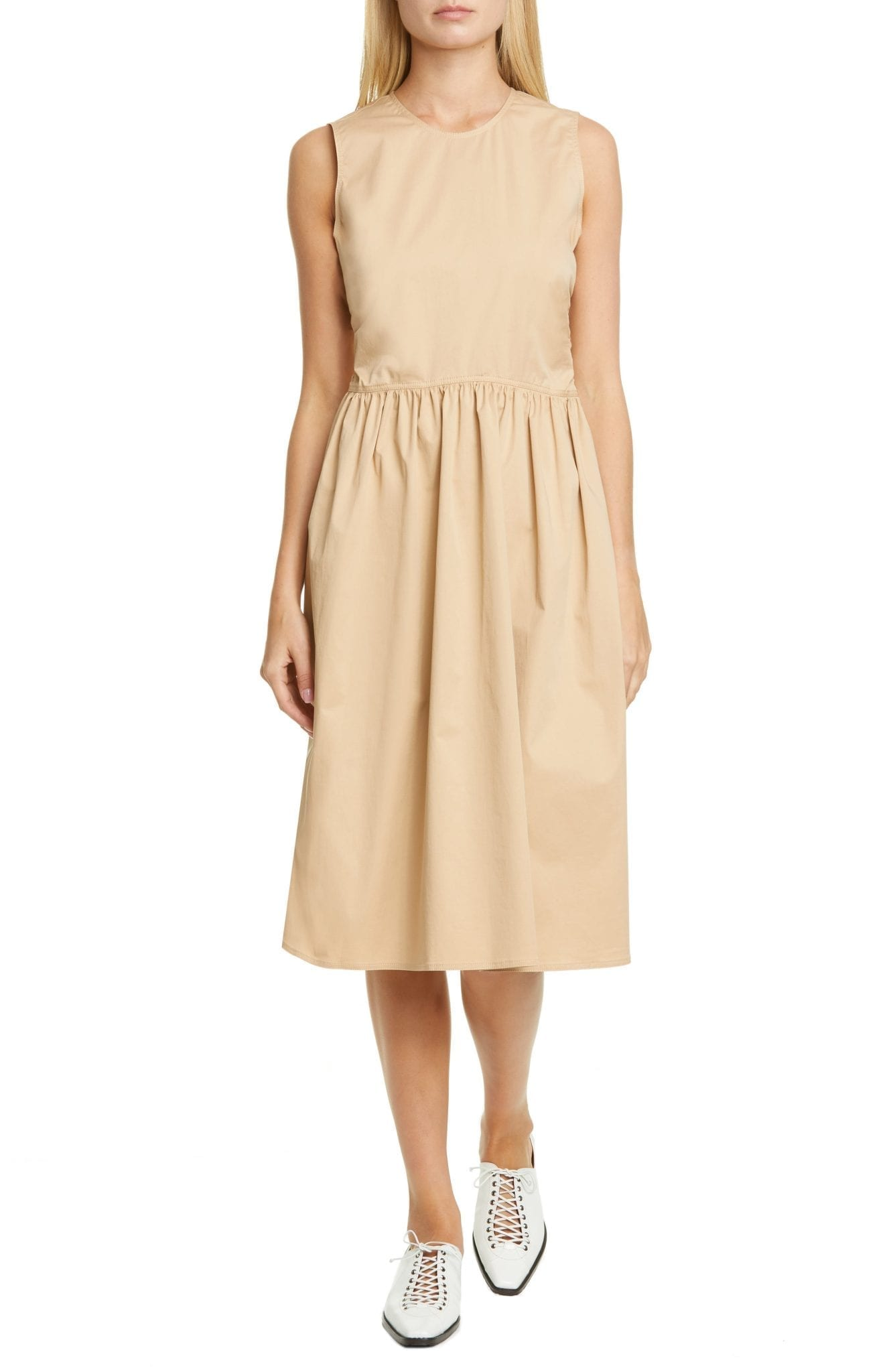SIES MARJAN Violetta Gathered Waist Stretch Cotton Midi Dress