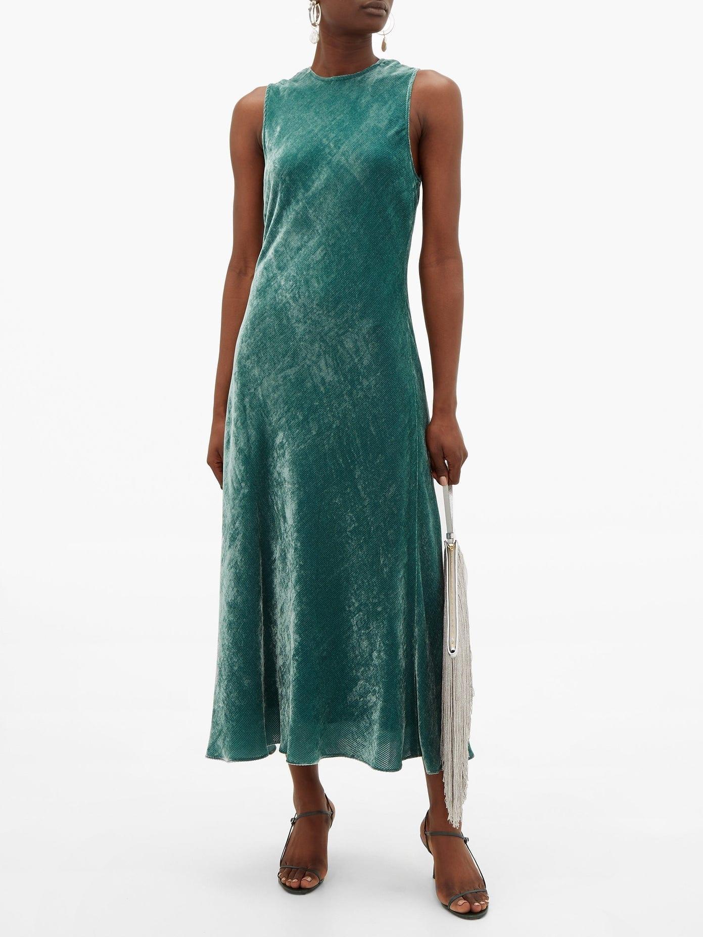 SIES MARJAN Viv Bias-Cut Corduroy-Velvet Dress