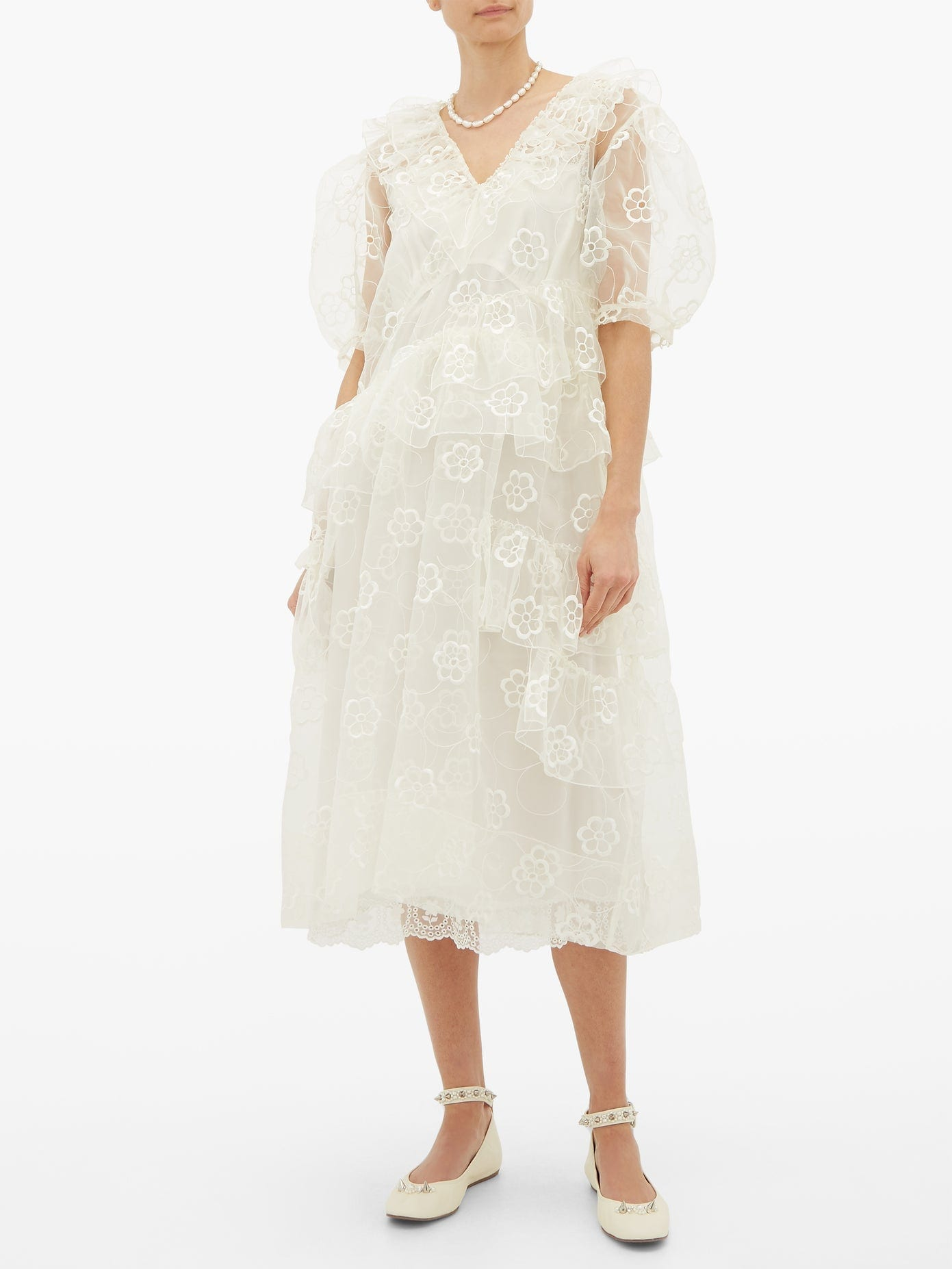 SIMONE ROCHA Floral-embroidered Organza Midi Dress